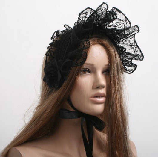 LS-008 Lace Lolita Bonnet with Roses