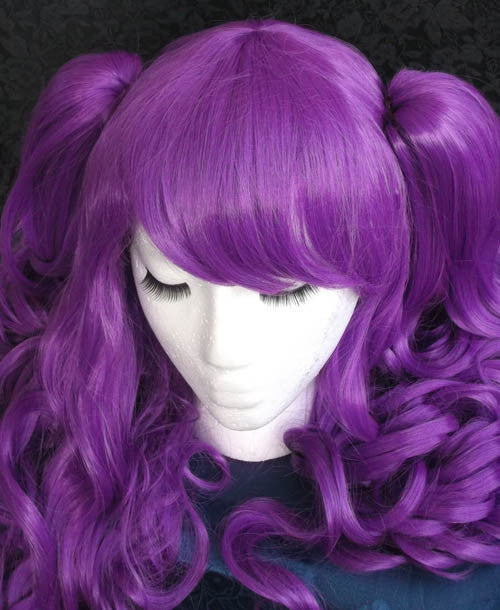 Long Lolita Curly Solid Color Cosplay Wig with clip on ponytails