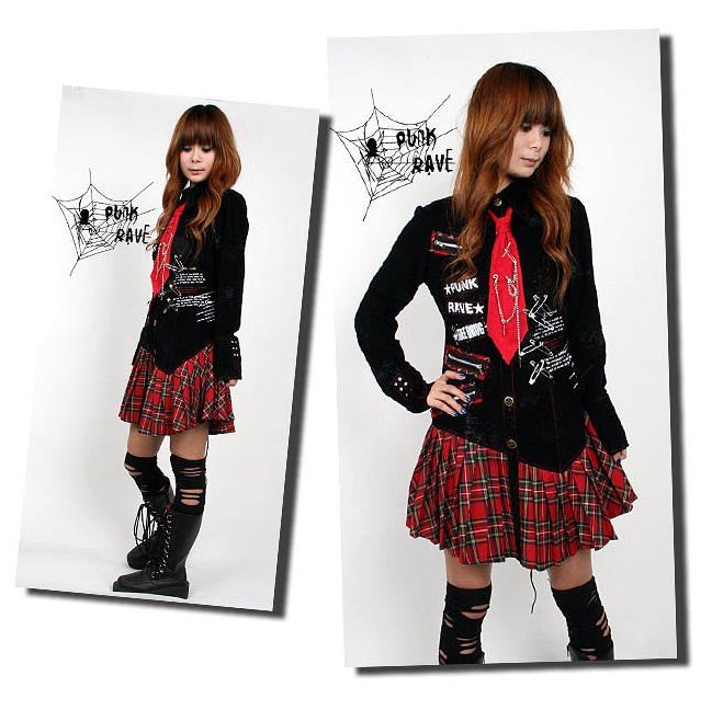 Q-083 Plaid Skirt Dress with Tie