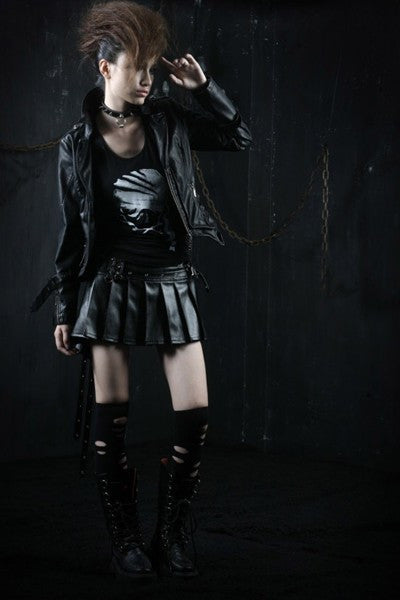 Q-166 Devil Tail Spiked Pleather Mini Kilt