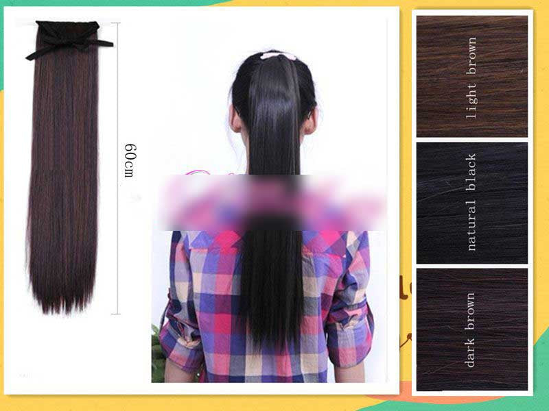 Straight pony tail hair extension