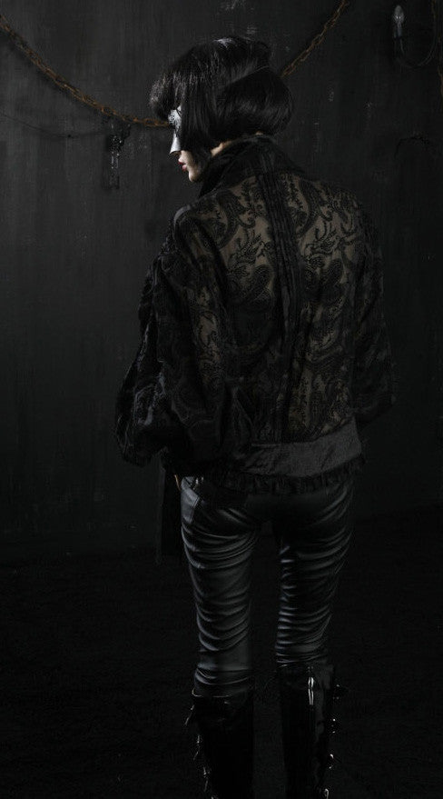 Y-317 Vampire Sheer Brocade Poet Shirt