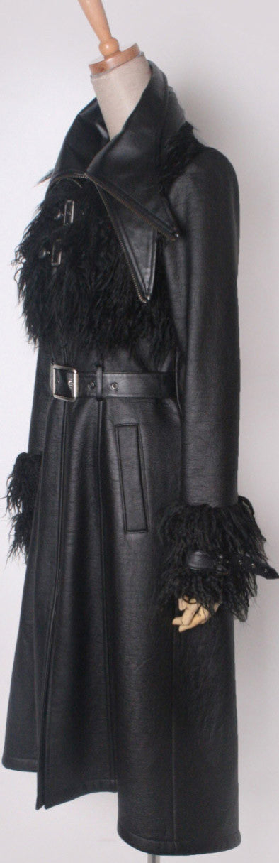 Y-407 Double Collar Furry Trench Coat