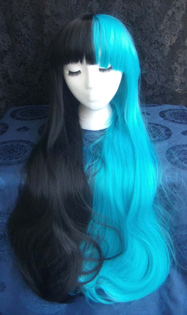 Straight Split Color Long Cosplay Wig