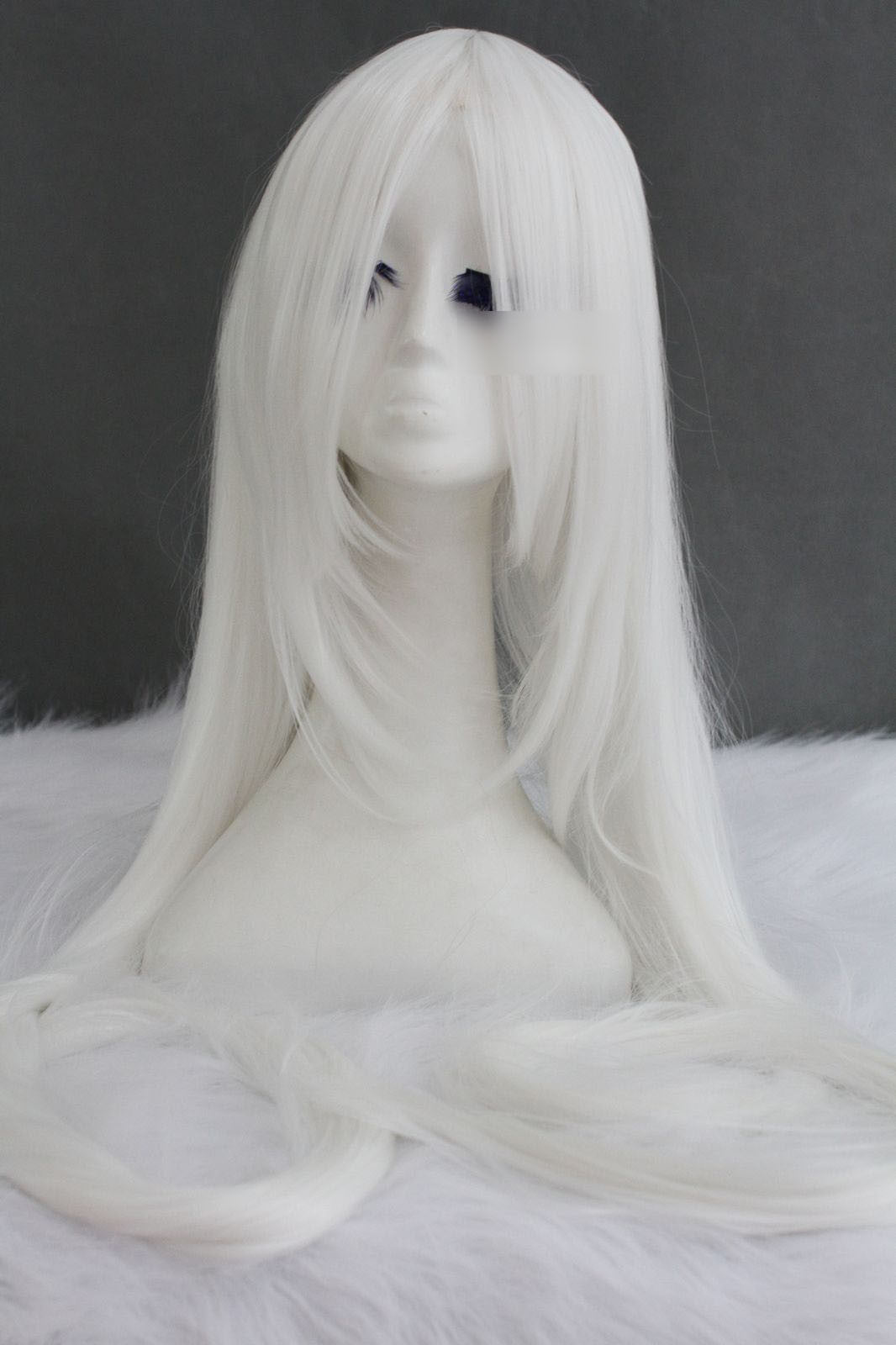 Silver/White super long anime cosplay wig