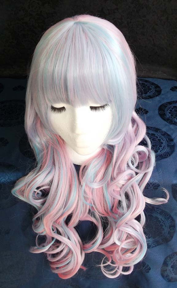Two Tone Lolita Long Curly Cosplay Multi-color Wig with clip-on ponytails