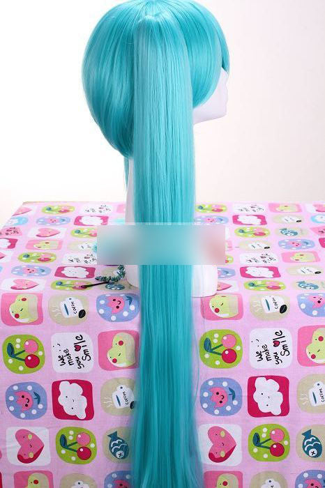 Super long Hatsune Miku Vocaloid Straight Cosplay Wig with clip on ponytails