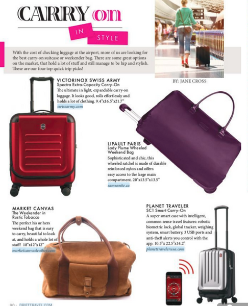 Carry On - In style - Market Canvas Leather's Weekender is featured in Drift Travel Magazine
