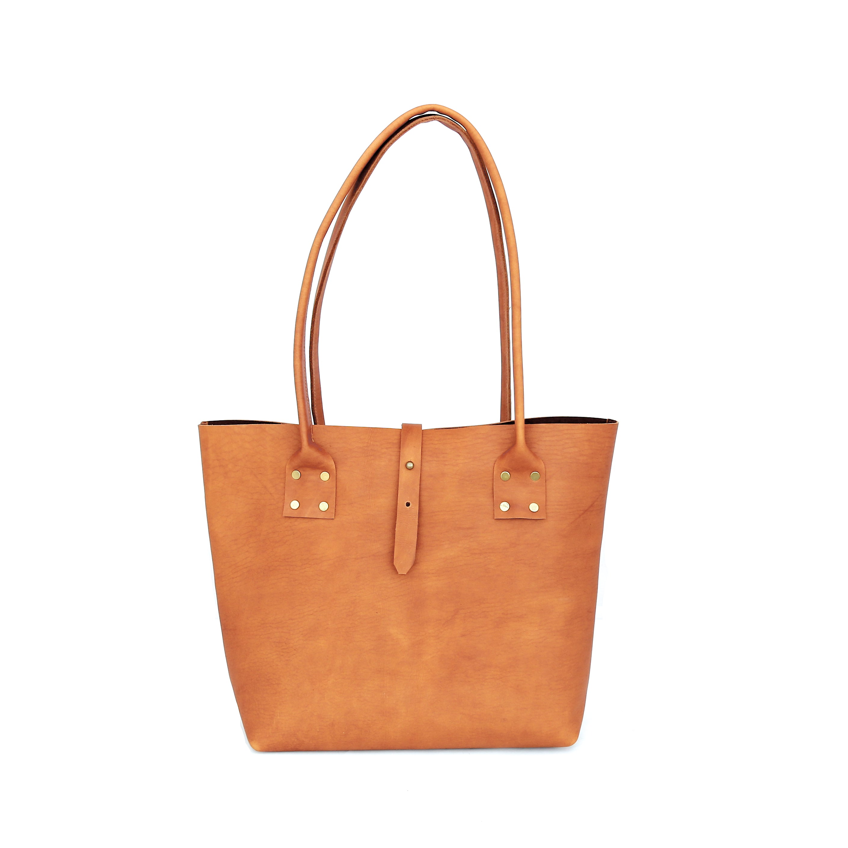 Refined Tote in Caramel Leather - handcrafted by Market Canvas Leather in Tofino, BC, Canada