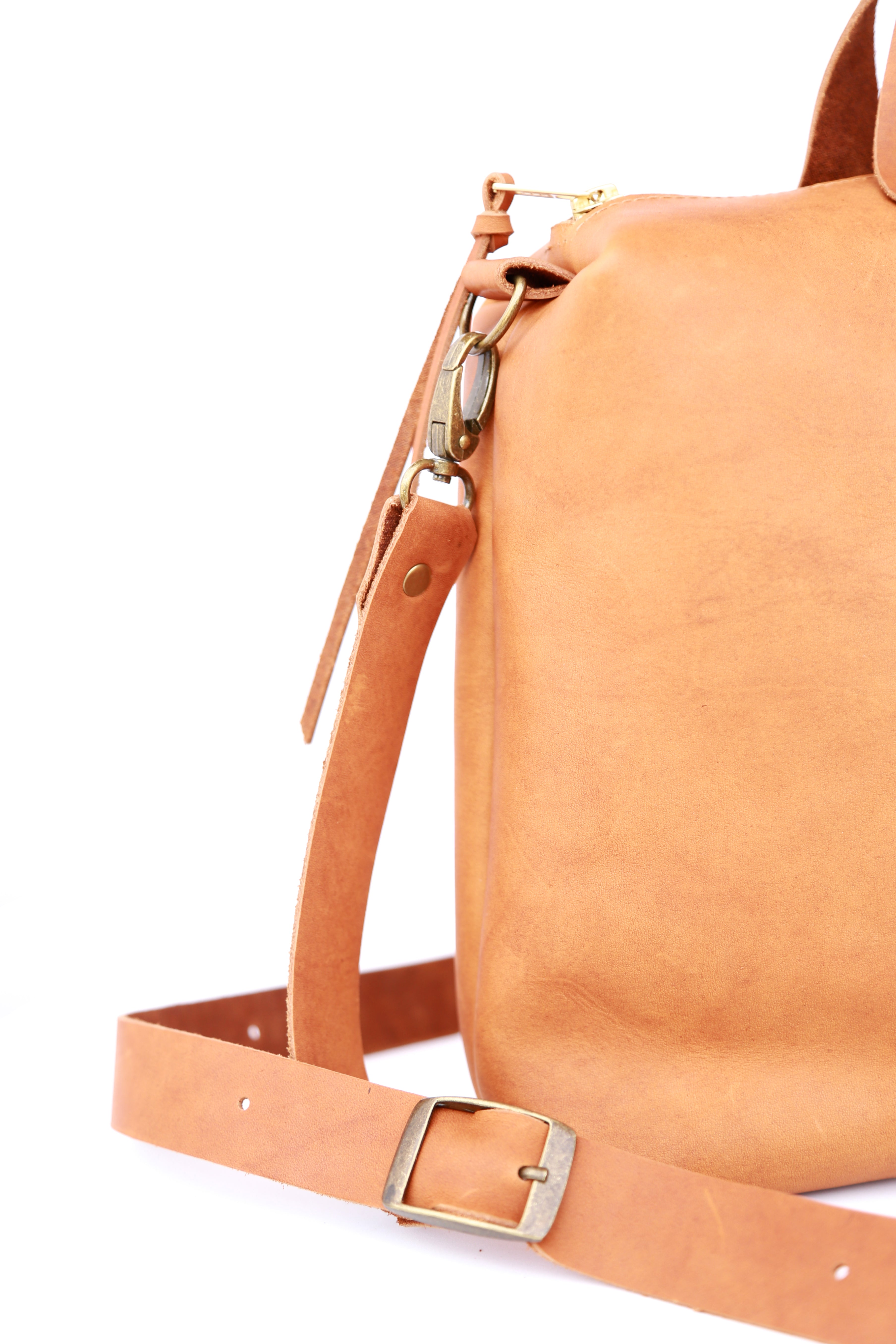 Spy Bag In Caramel Leather - handcrafted by Market Canvas Leather in Tofino, BC, Canada