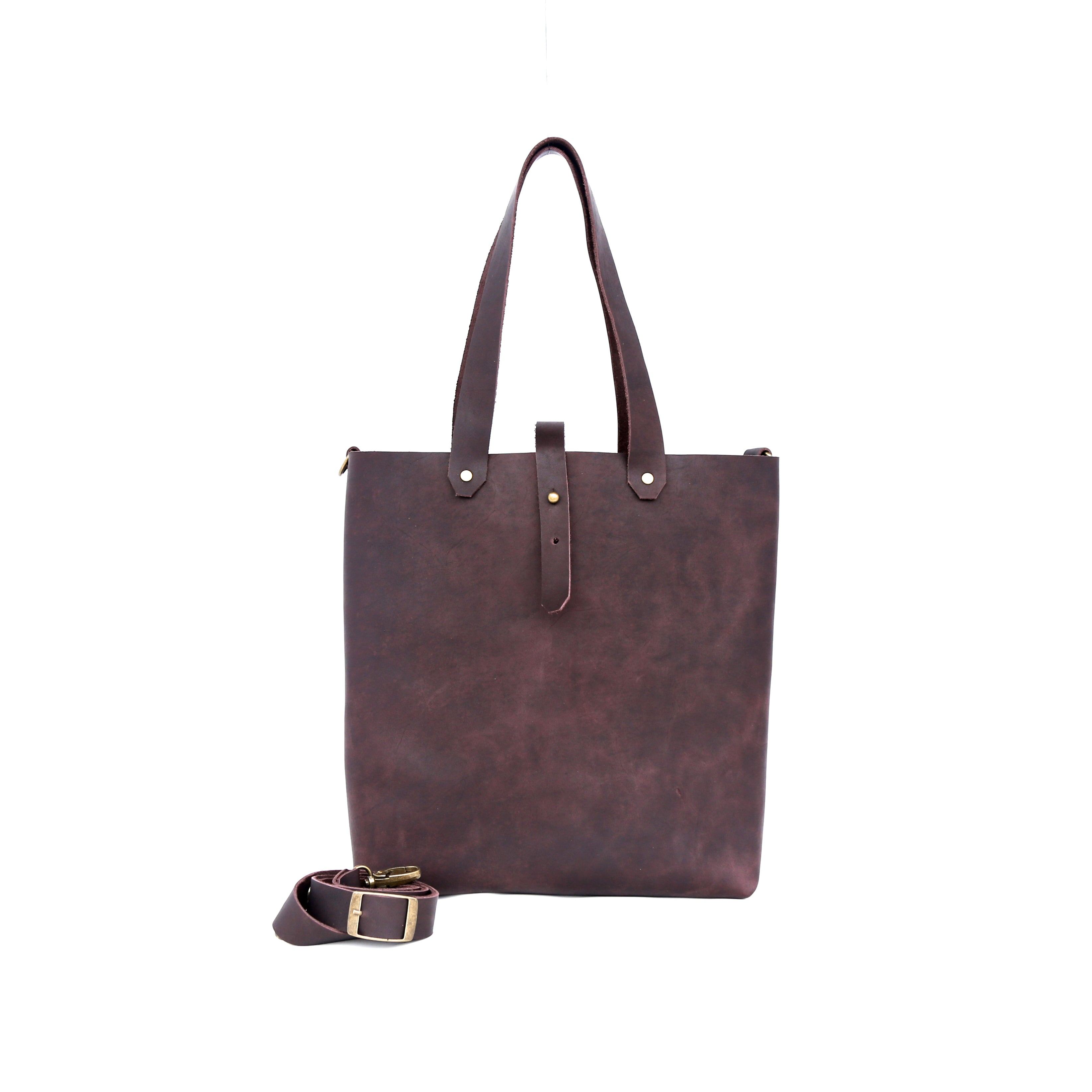 Shopper Tote in Plum Leather - handcrafted by Market Canvas Leather in Tofino, BC, Canada