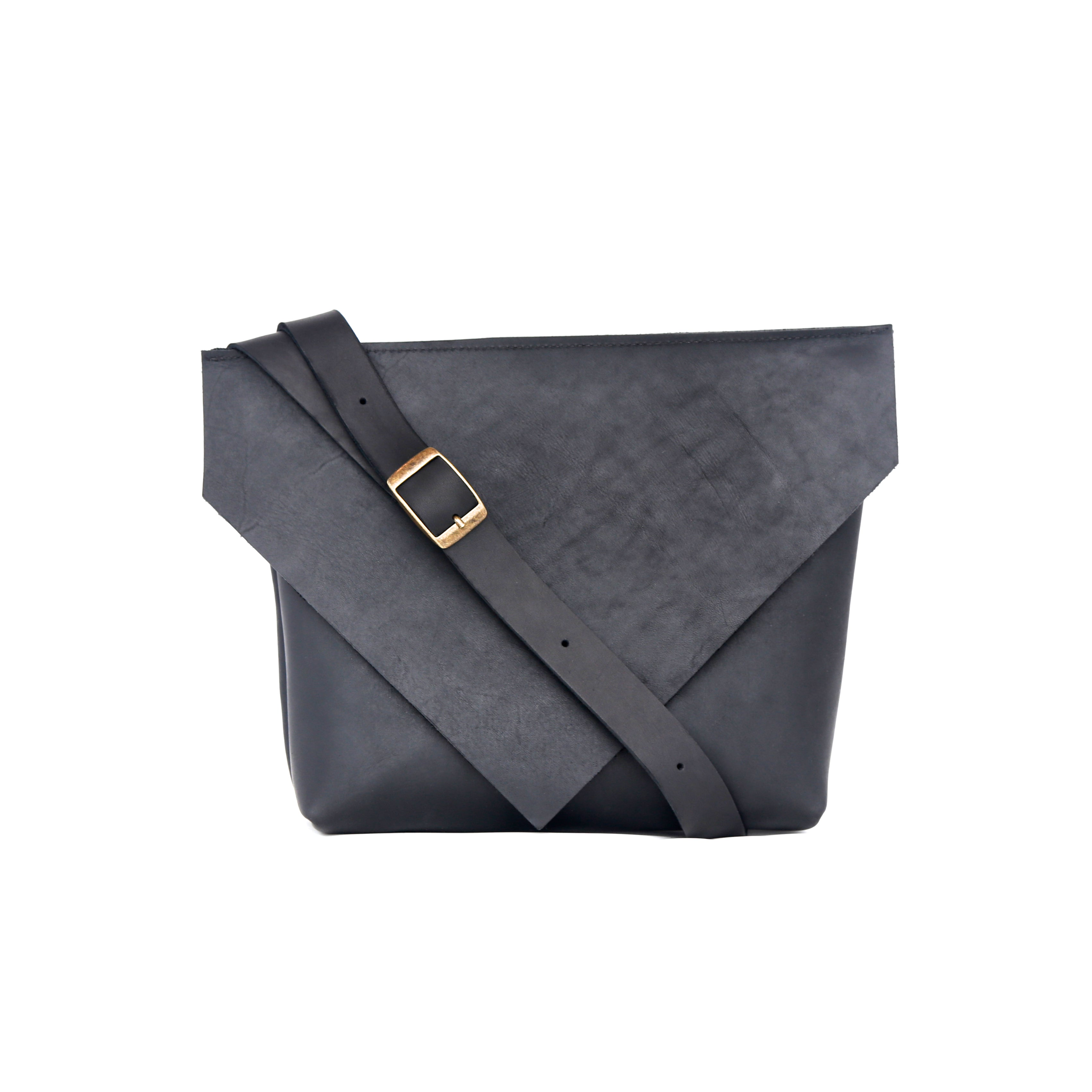 Envelope Bag in Matte Black Leather - handcrafted by Market Canvas Leather in Tofino, BC, Canada