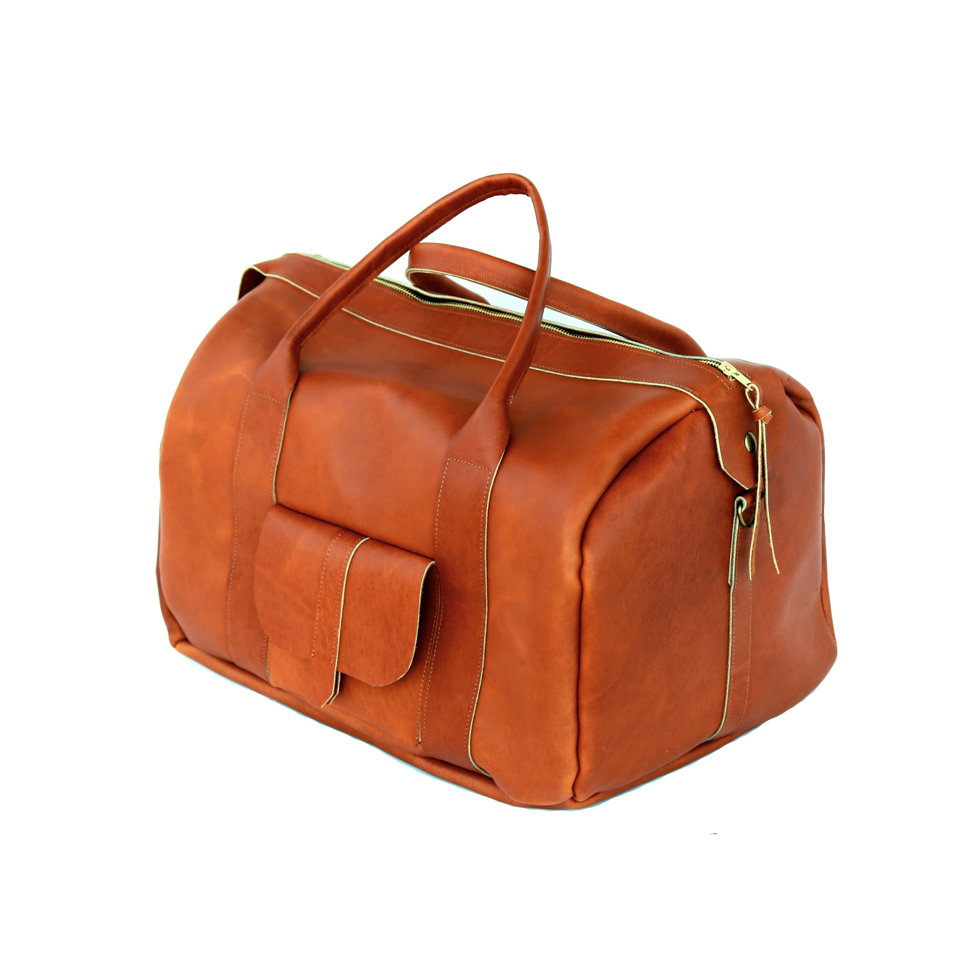 The Weekender in Ocher Leather - handcrafted by Market Canvas Leather in Tofino, BC, Canada