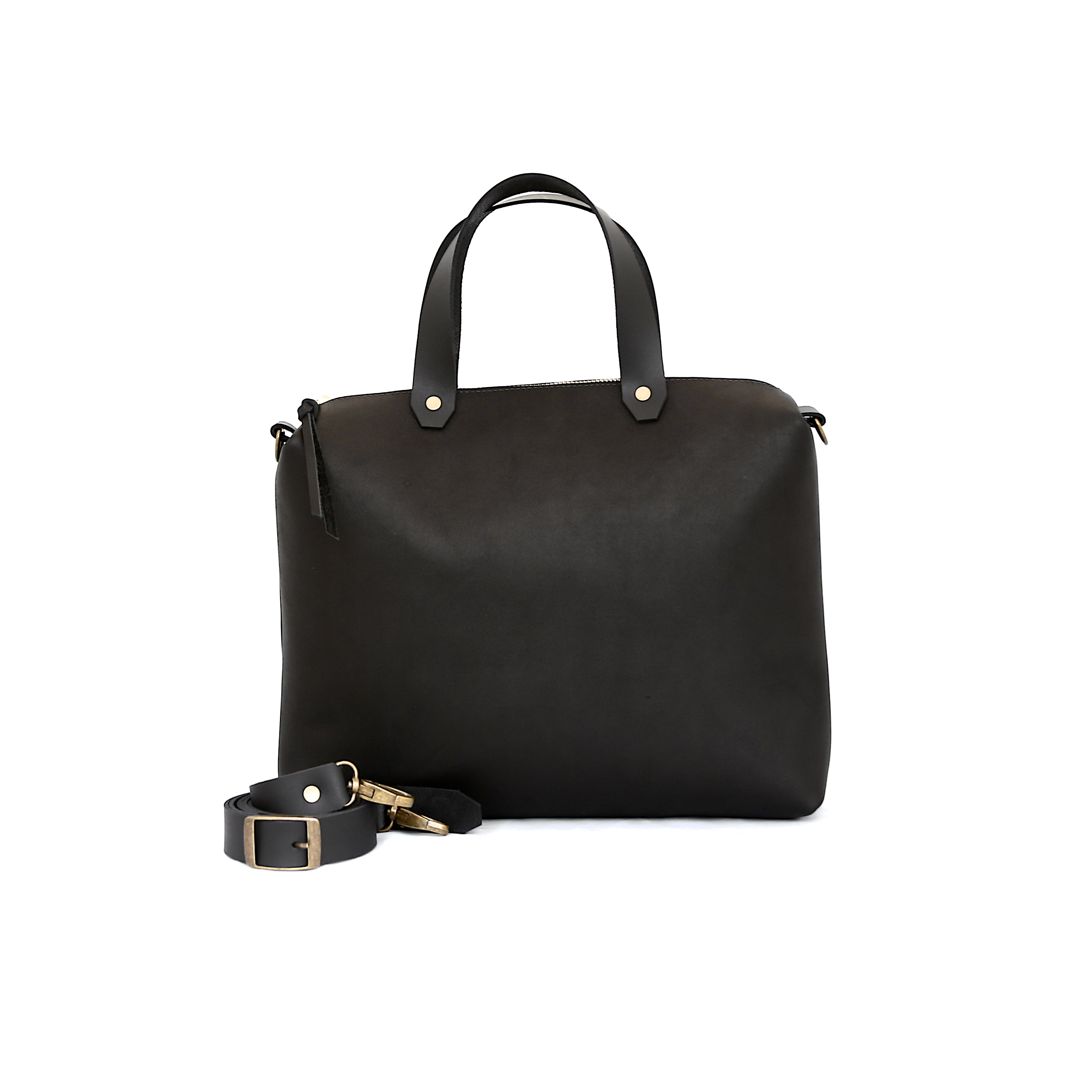 Spy Bag In Black Leather - handcrafted by Market Canvas Leather in Tofino, BC, Canada