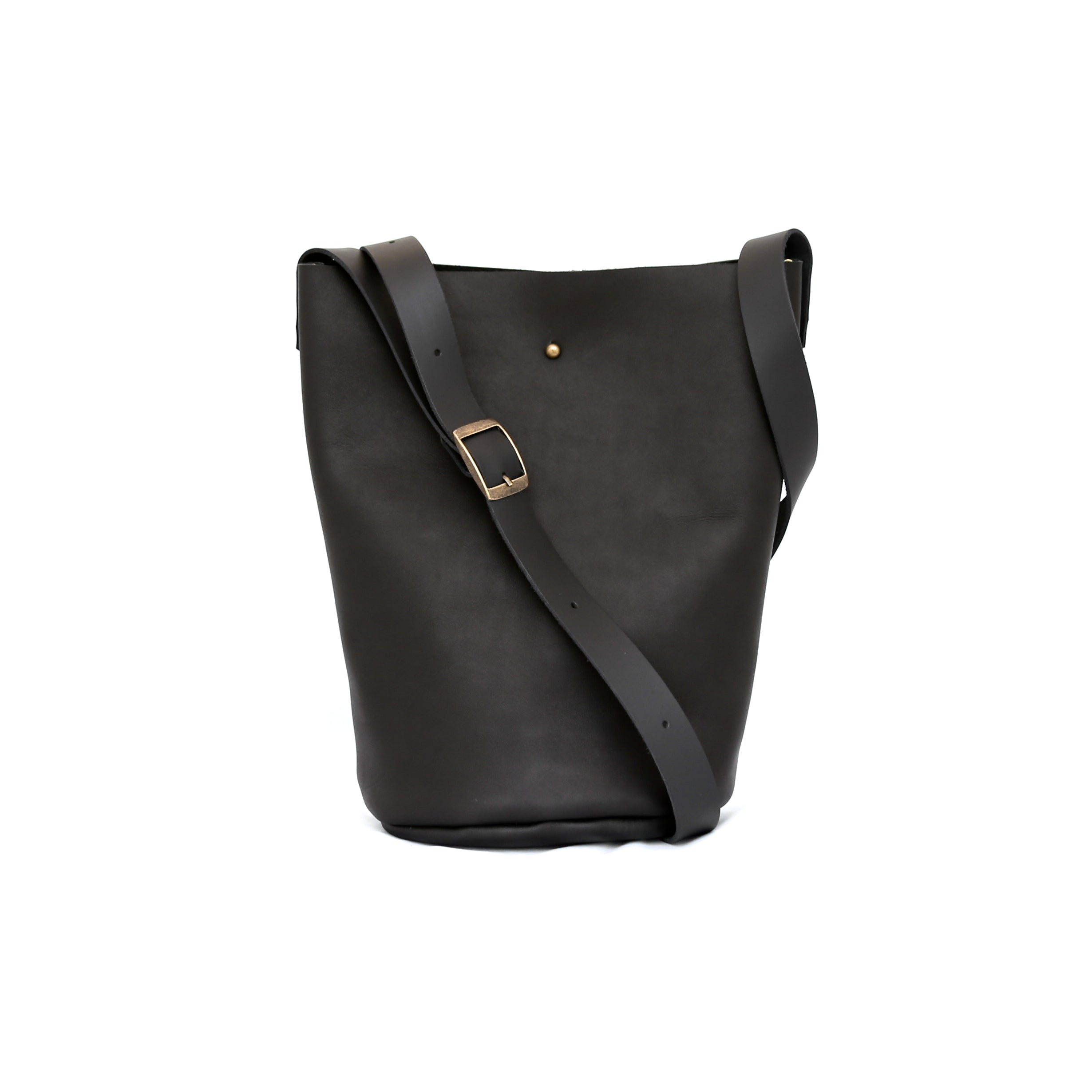 Bucket Bag In Matte Black Leather - handcrafted by Market Canvas Leather in Tofino, BC, Canada