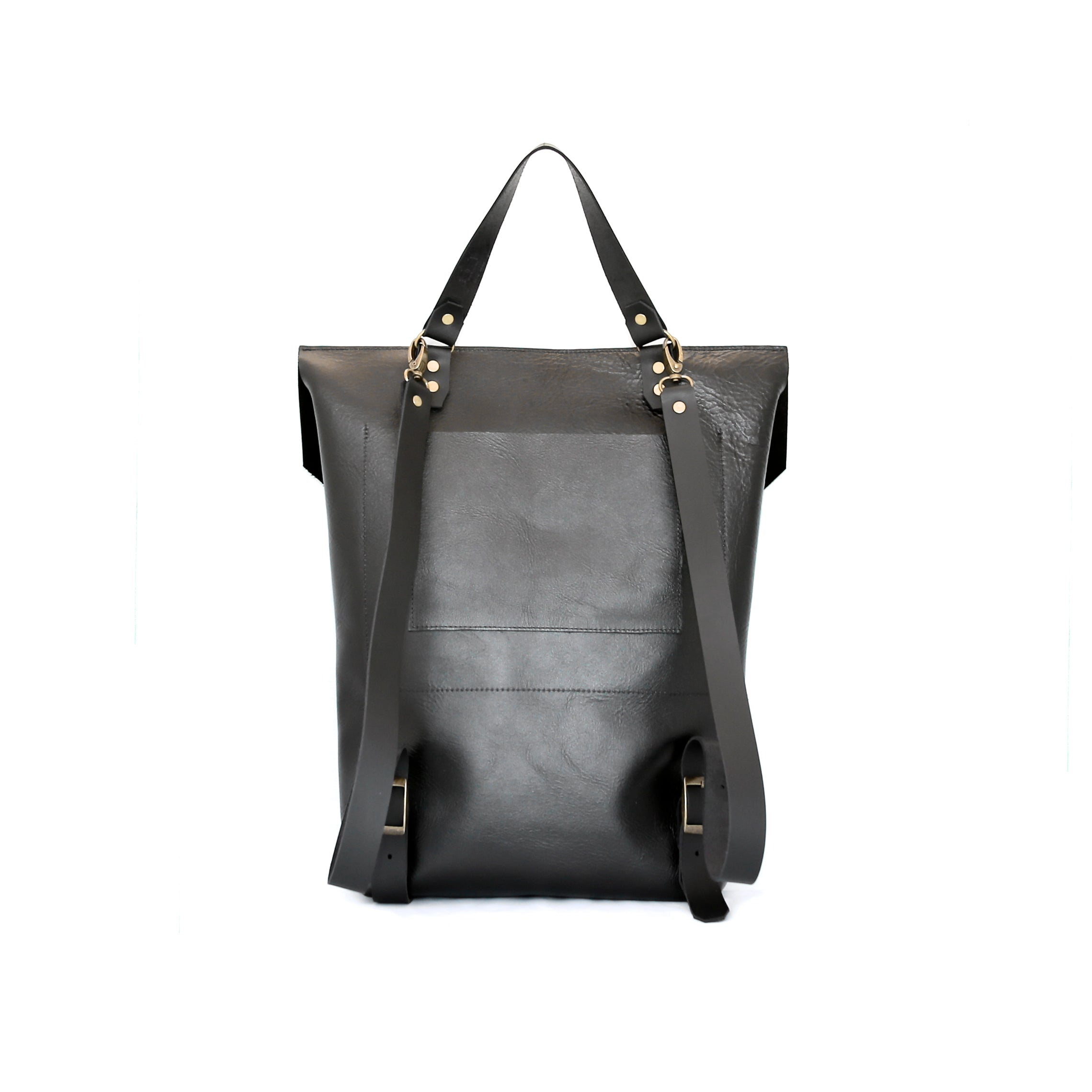 The Back Pack in Matte Black Leather - handcrafted by Market Canvas Leather in Tofino, BC, Canada