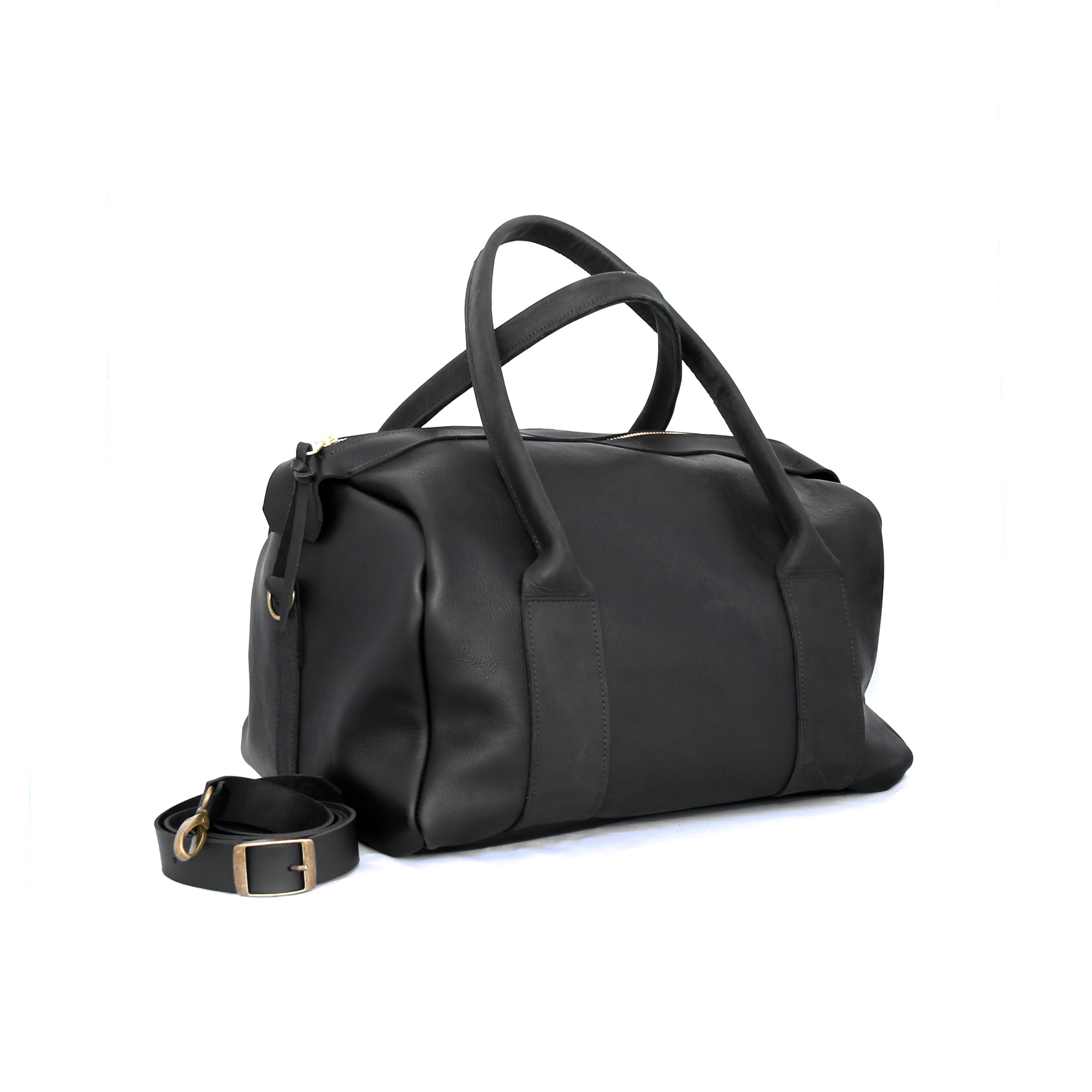 The Overnighter in Black Leather - handcrafted by Market Canvas Leather in Tofino, BC, Canada