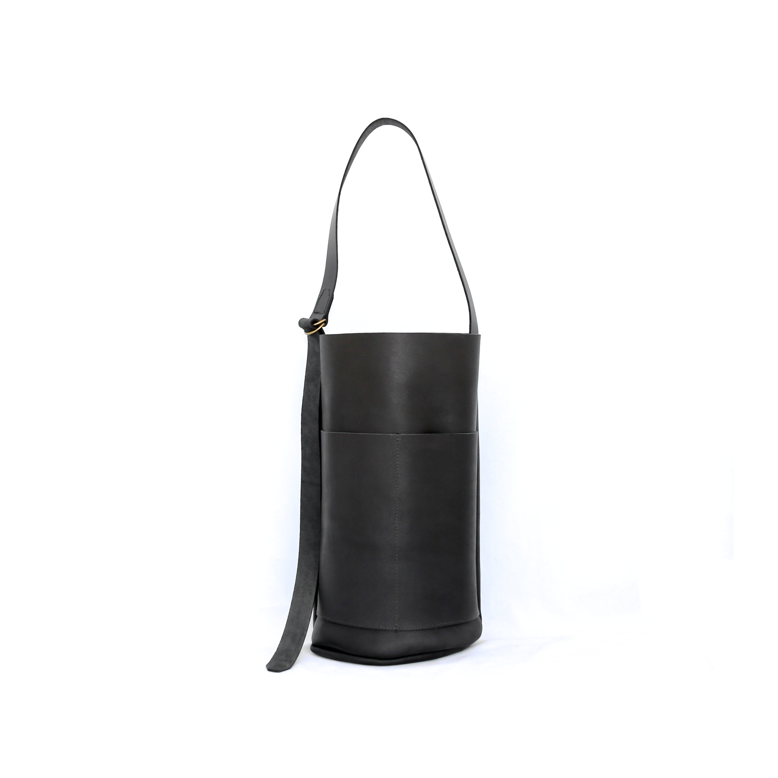 Femme Bucket In Matte Black Leather - handcrafted by Market Canvas Leather in Tofino, BC, Canada