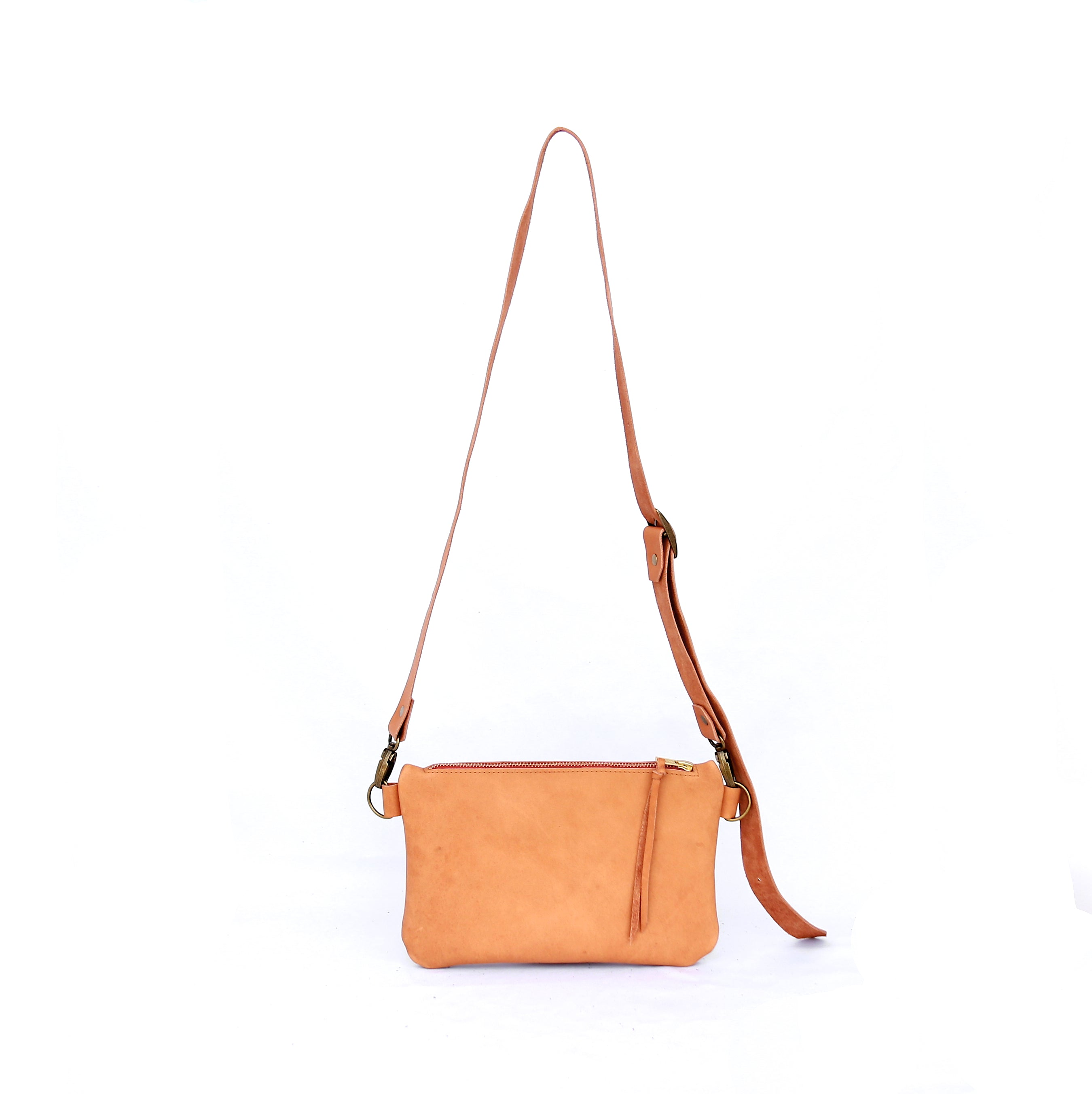 The Dime Bag in Tan Leather - handcrafted by Market Canvas Leather in Tofino, BC, Canada