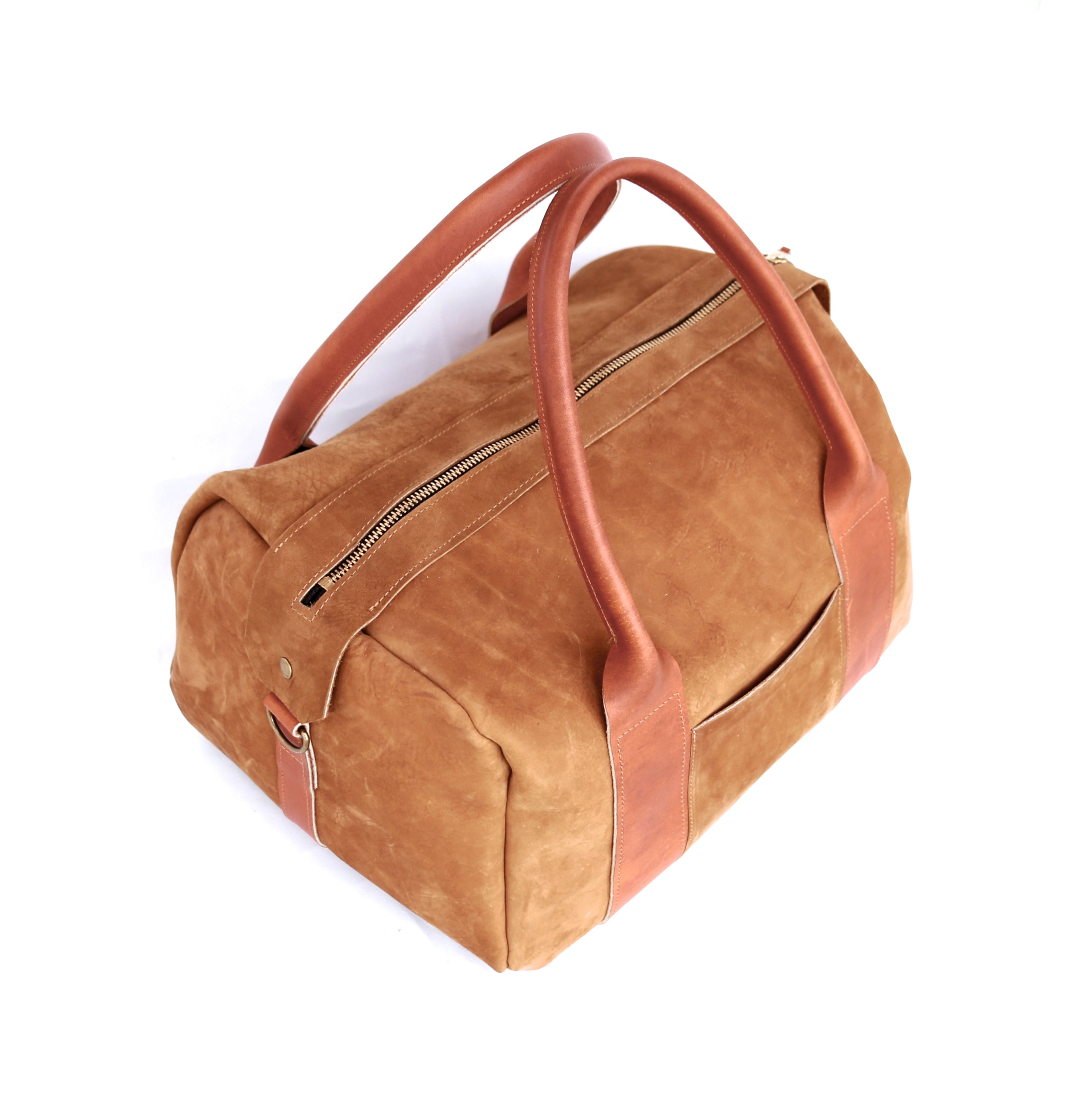 The Overnighter in Tobacco Leather - handcrafted by Market Canvas Leather in Tofino, BC, Canada