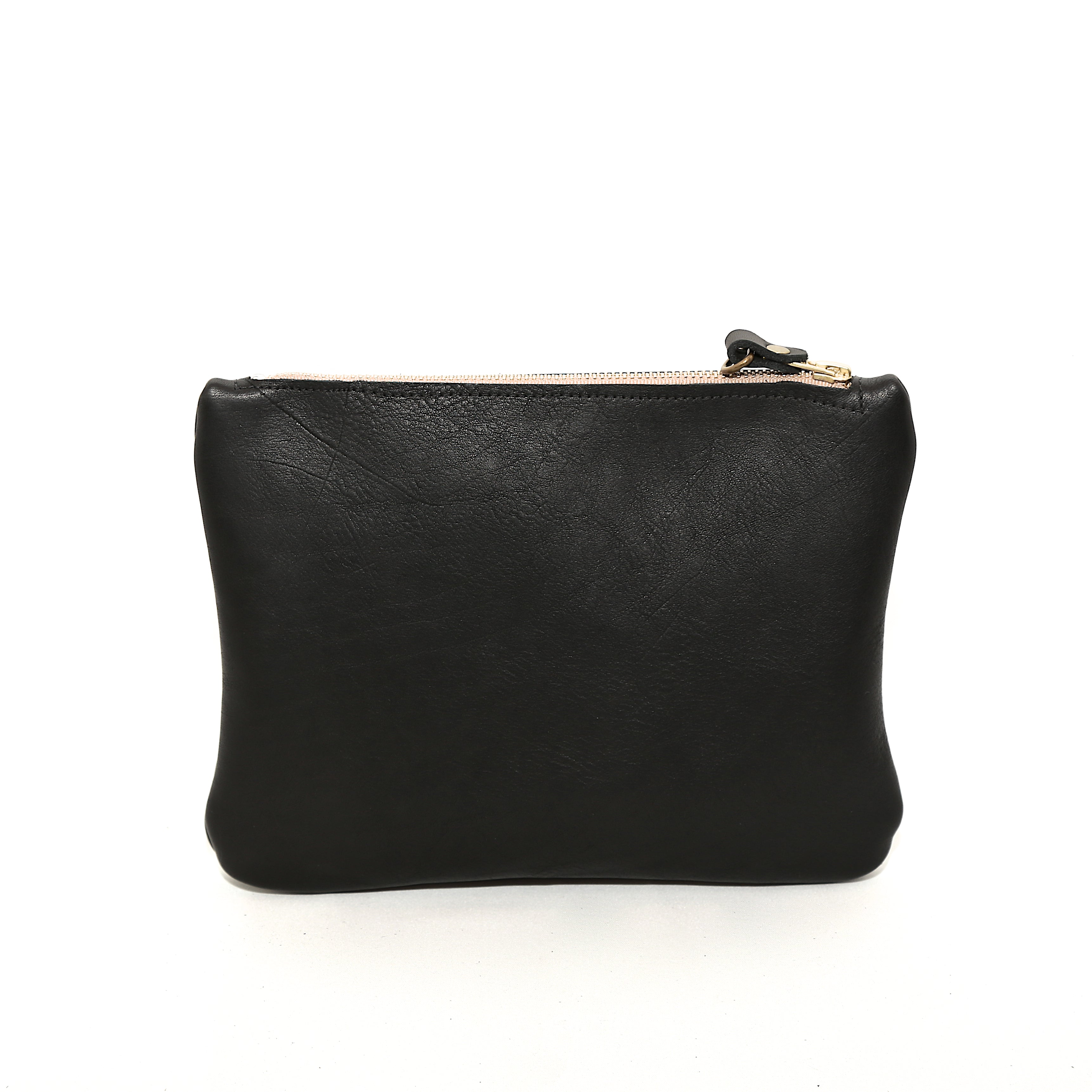 Zip Clutch In Black Leather - handcrafted by Market Canvas Leather in Tofino, BC, Canada