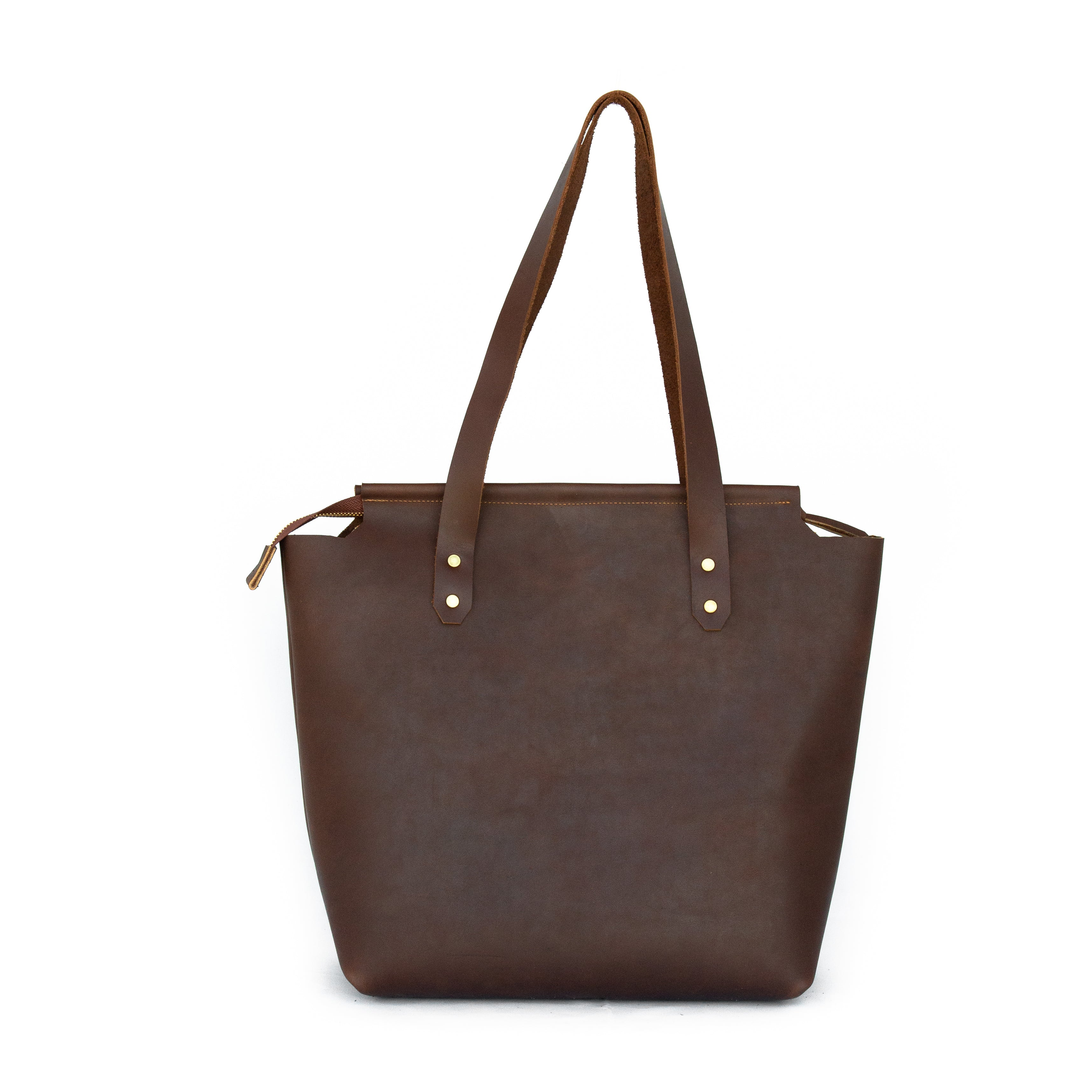 Cut Out Zip Tote in Dark Brown Leather - handcrafted by Market Canvas Leather in Tofino, BC, Canada