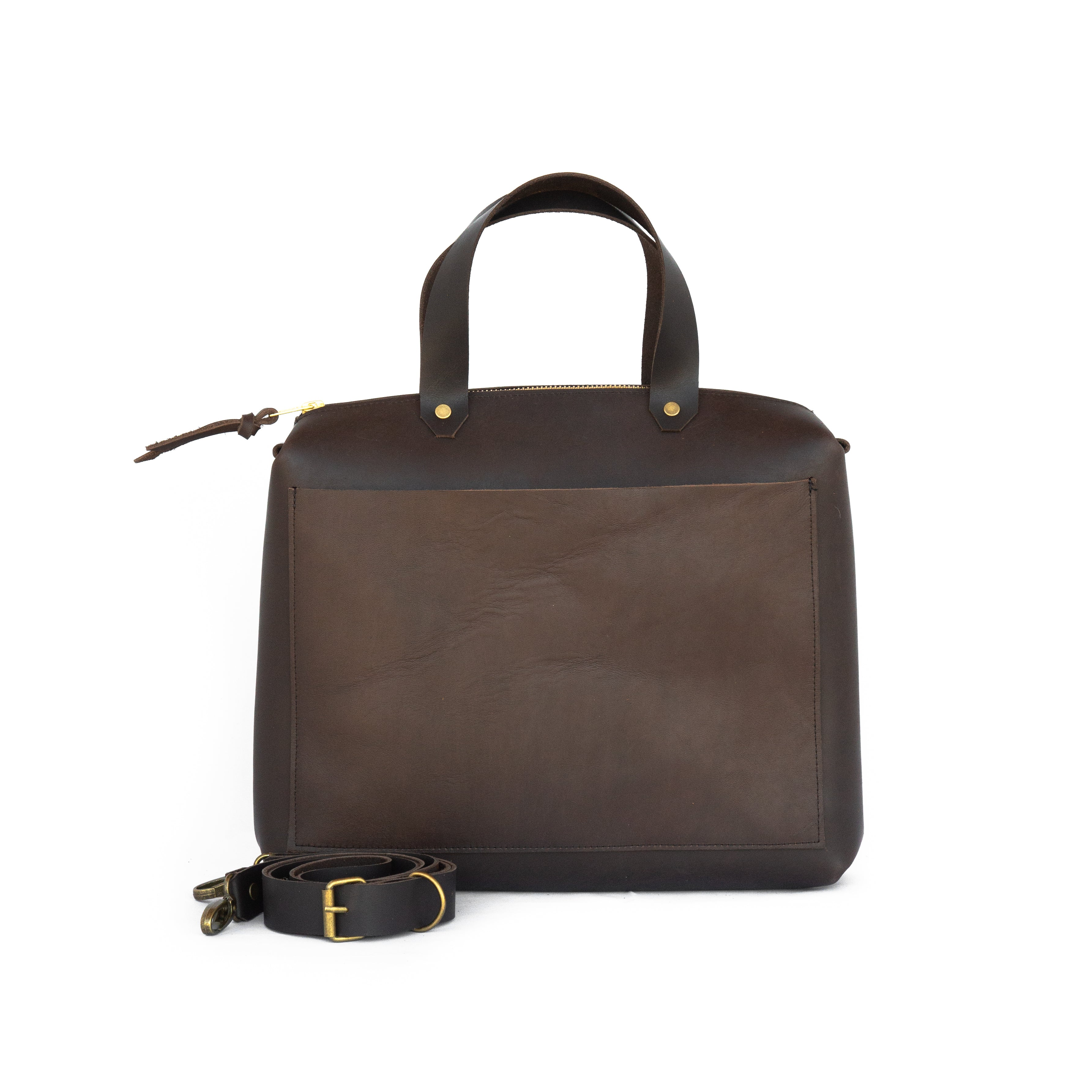 Spy Bag In Dark Brown Leather - handcrafted by Market Canvas Leather in Tofino, BC, Canada