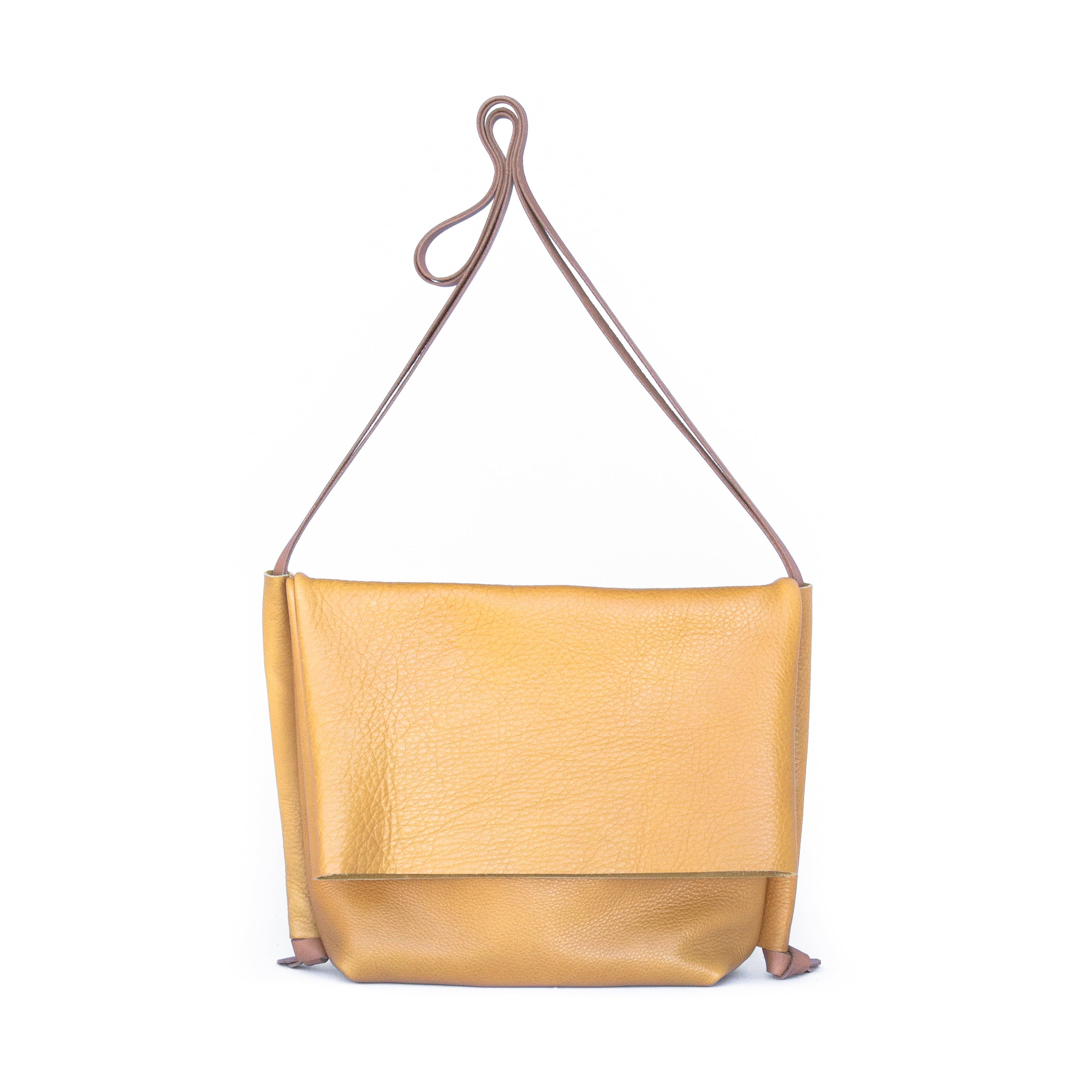 Flip Bag in Mustard Leather - handcrafted by Market Canvas Leather in Tofino, BC, Canada