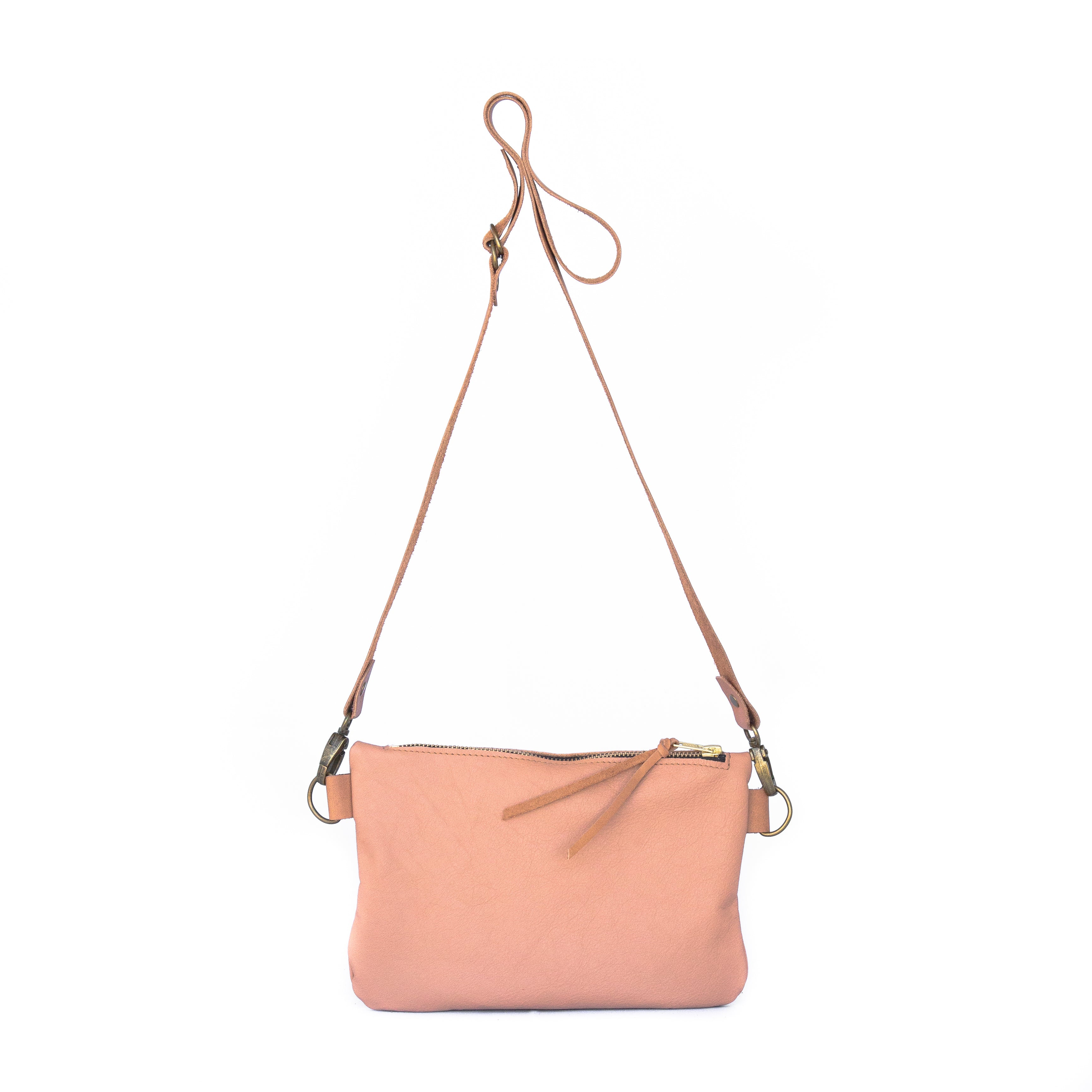 The Dime Bag in Blush Leather - handcrafted by Market Canvas Leather in Tofino, BC, Canada