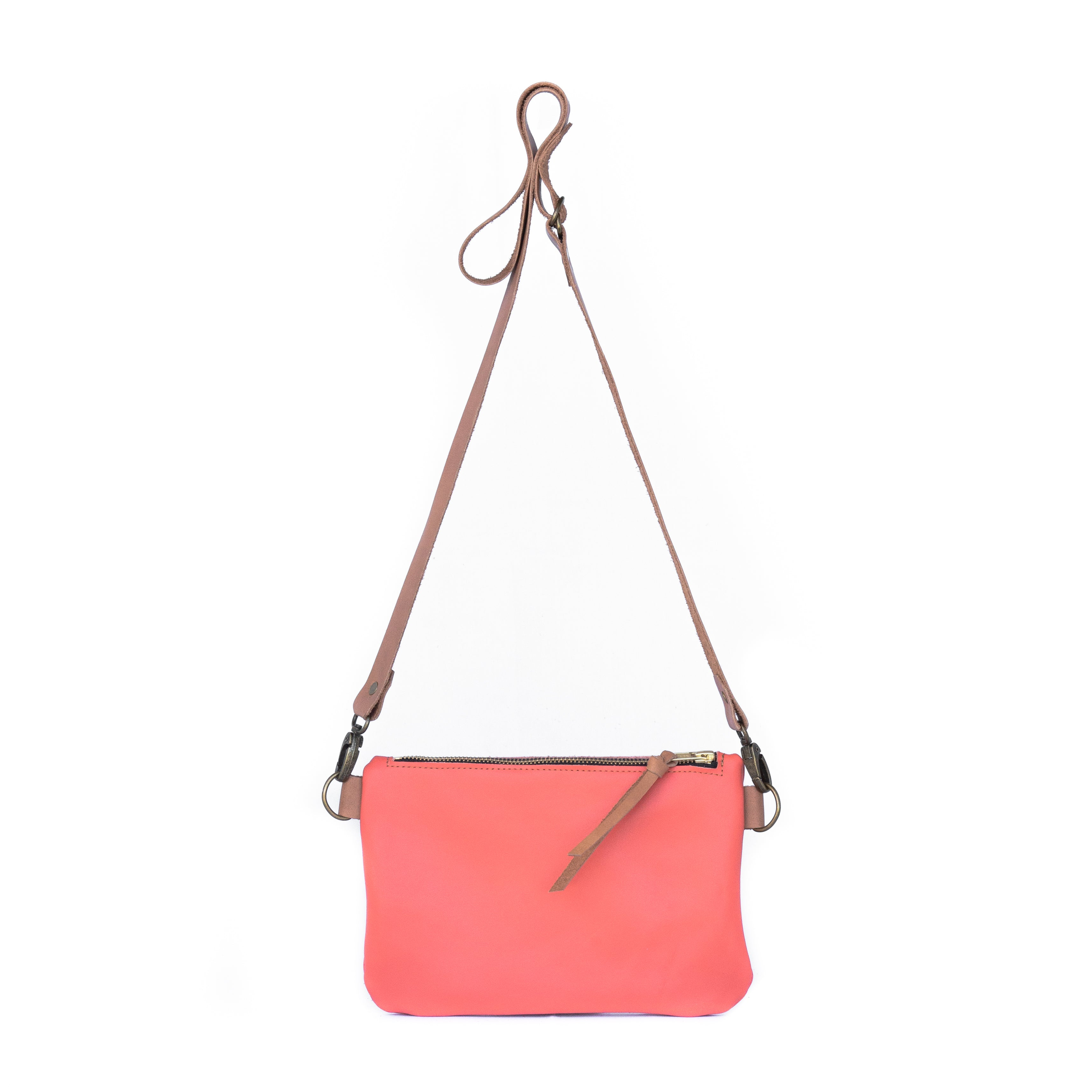 The Dime Bag in Electric Salmon Leather - handcrafted by Market Canvas Leather in Tofino, BC, Canada