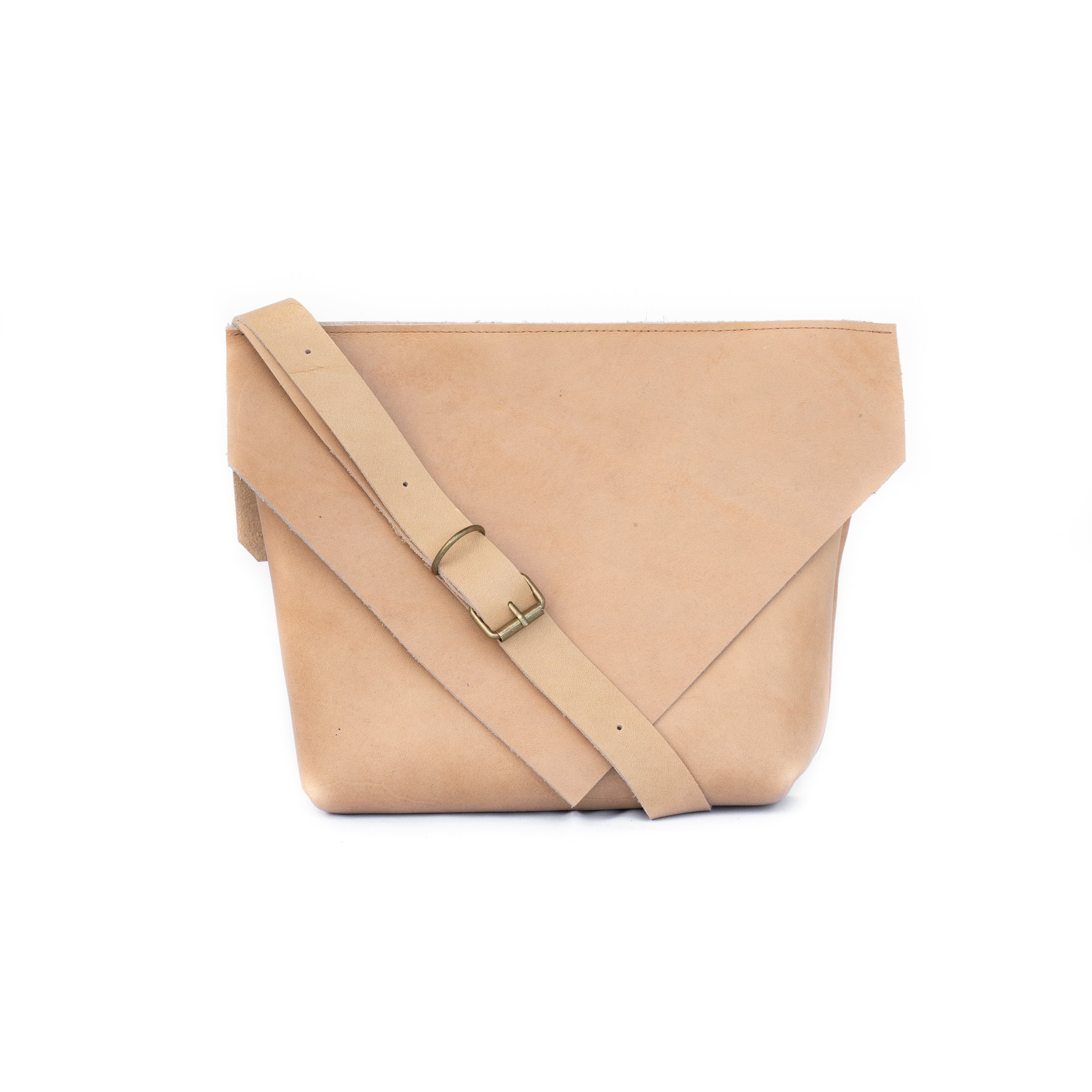 Envelope Bag in Tan Leather - handcrafted by Market Canvas Leather in Tofino, BC, Canada