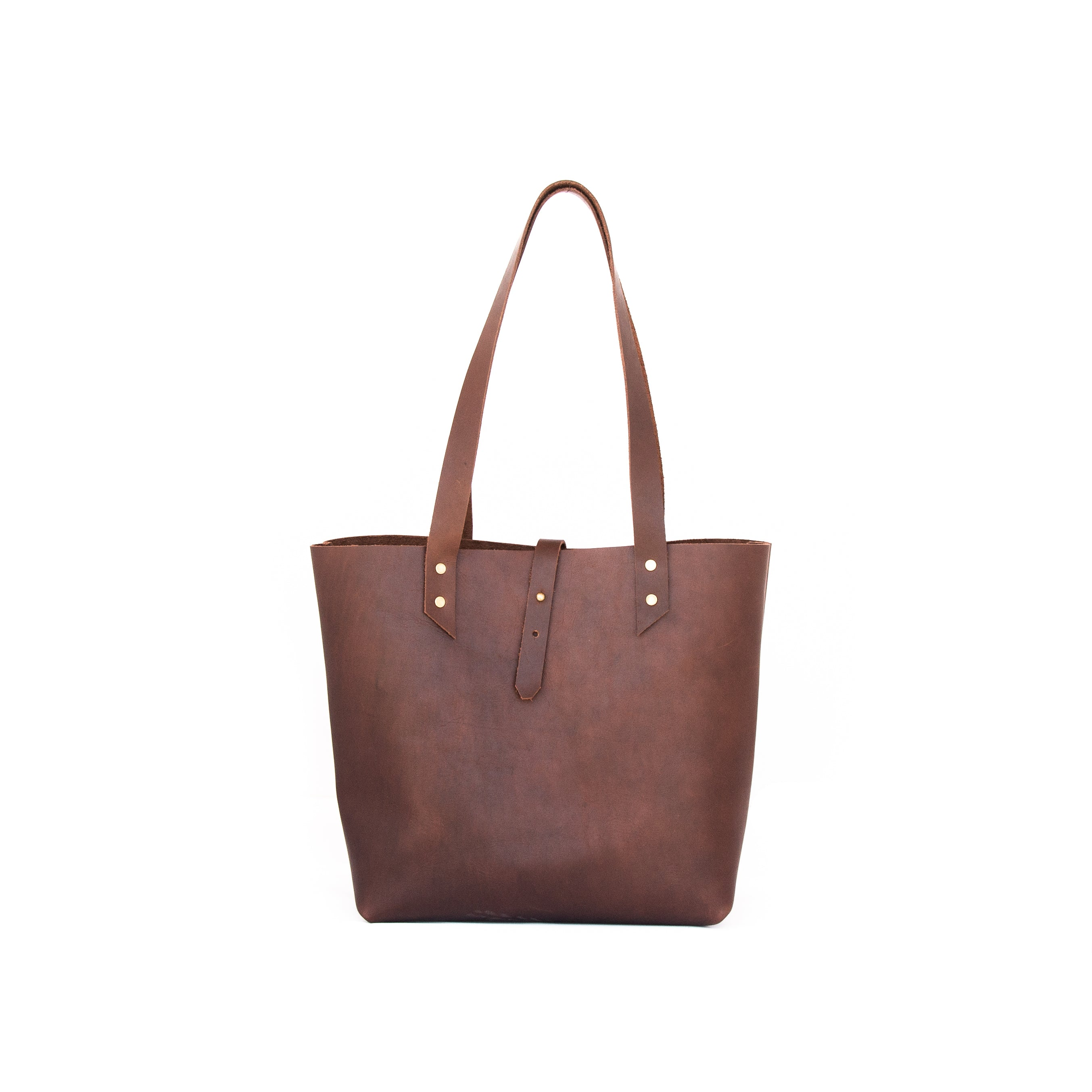 Classic Tote in Brown Leather - handcrafted by Market Canvas Leather in Tofino, BC, Canada
