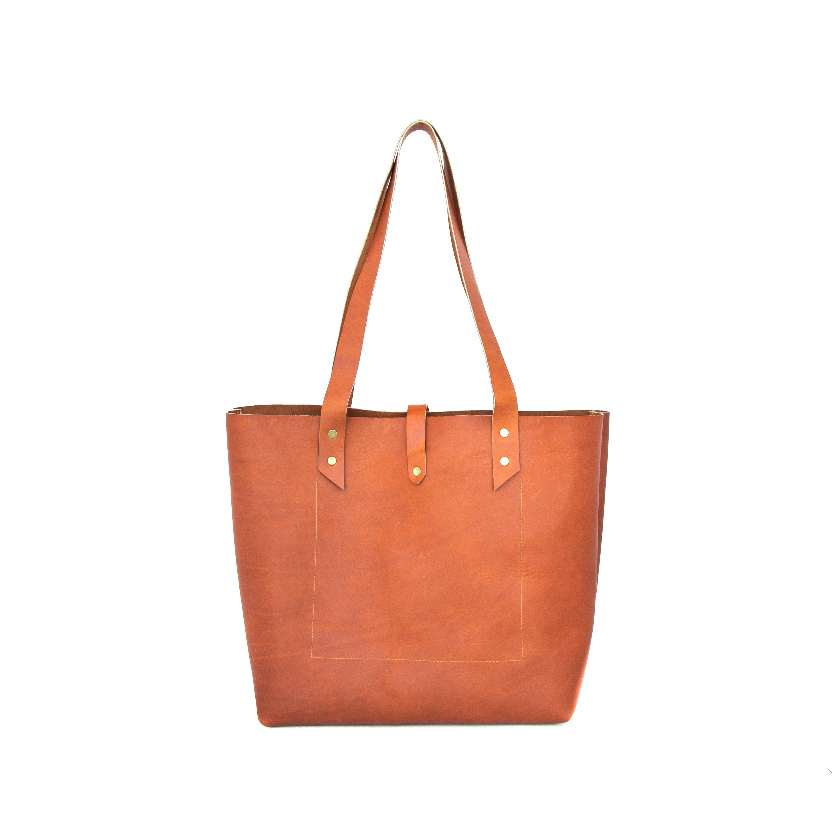 Classic Tote in Ochre Leather - handcrafted by Market Canvas Leather in Tofino, BC, Canada