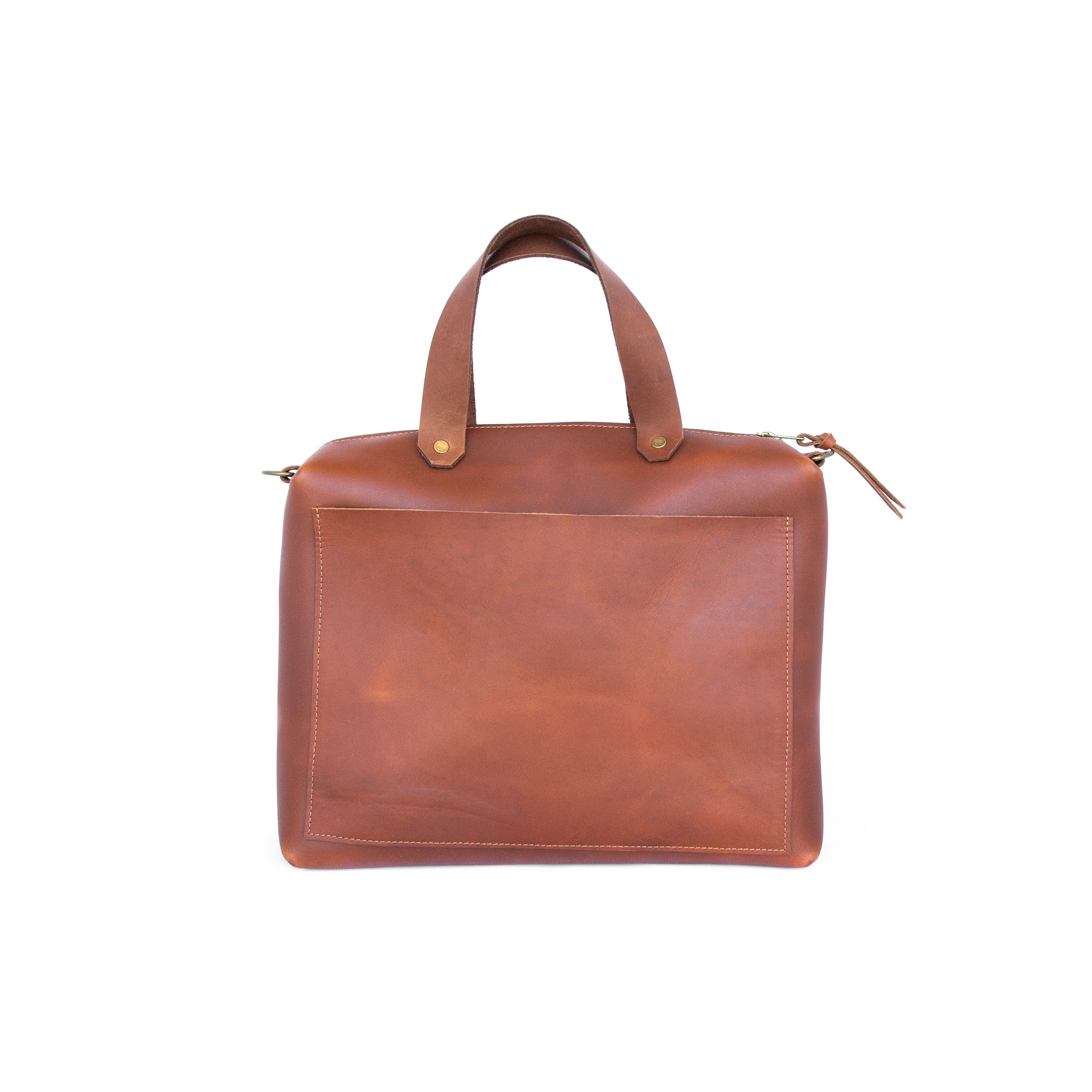 Spy Bag In Cognac Leather - handcrafted by Market Canvas Leather in Tofino, BC, Canada