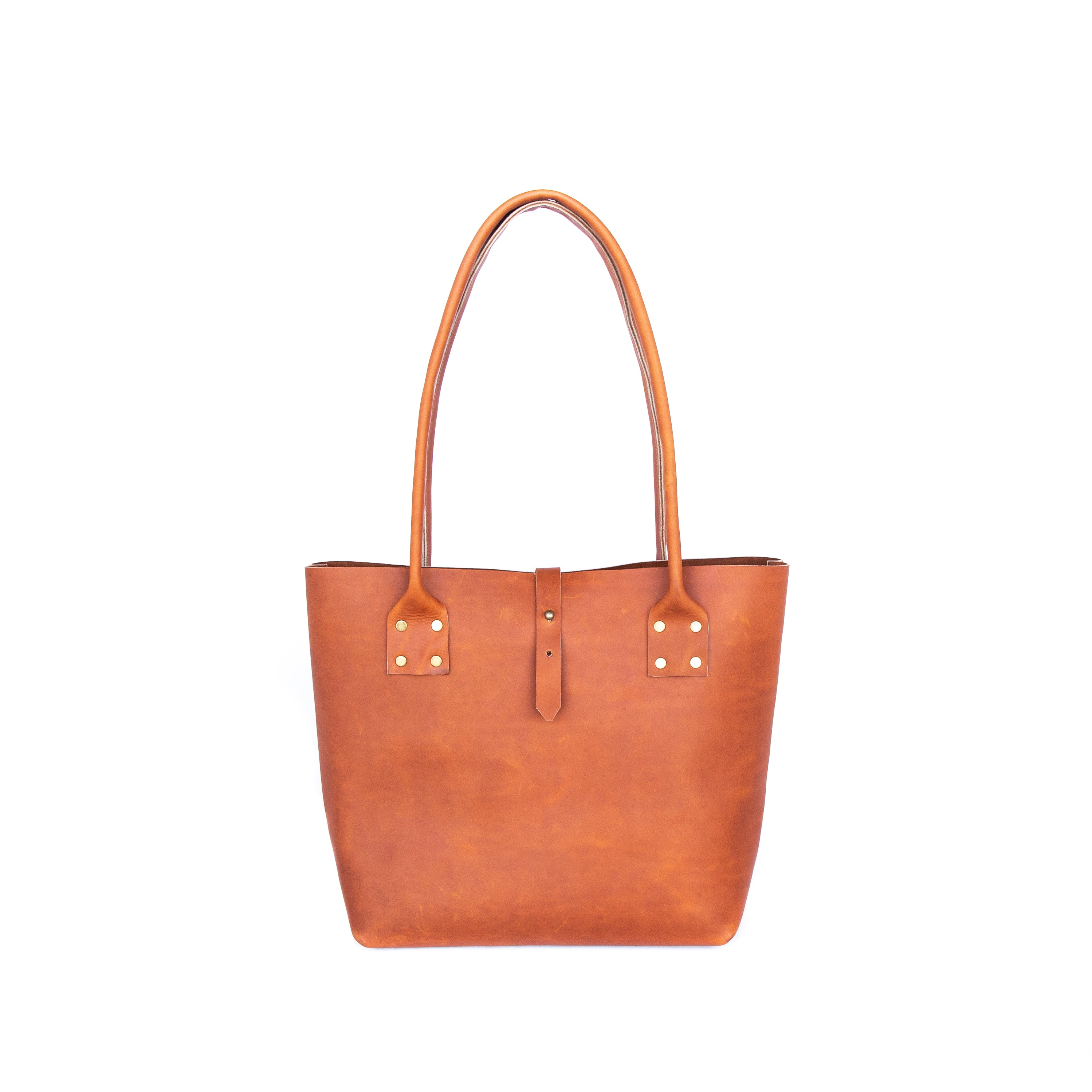 Refined Tote in Ochre Leather - handcrafted by Market Canvas Leather in Tofino, BC, Canada