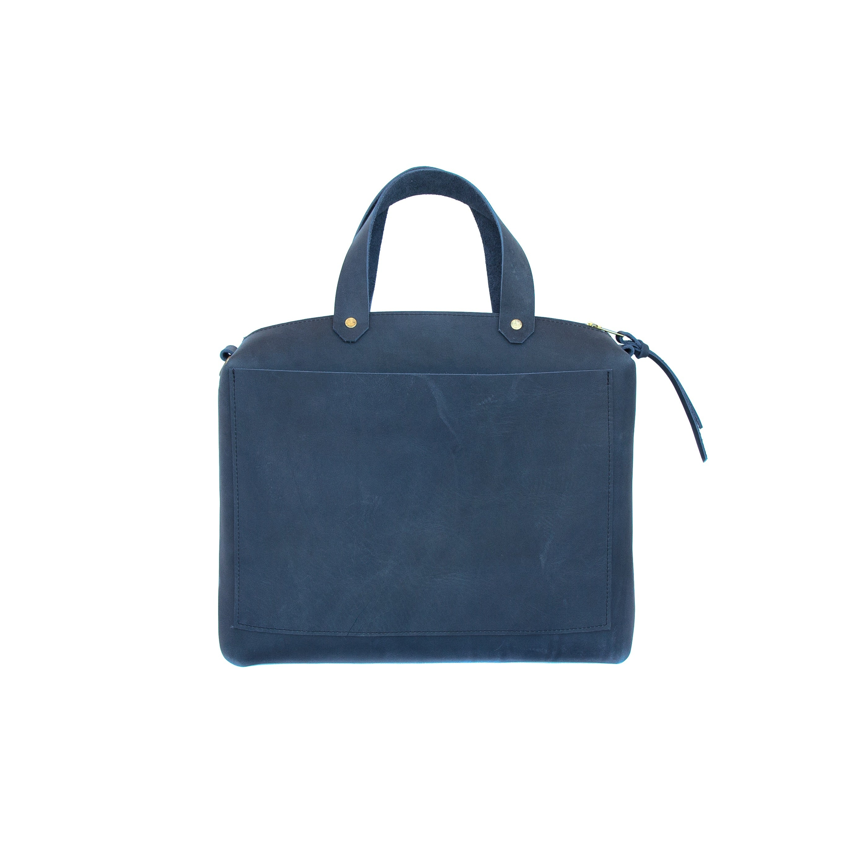 Spy Bag In Navy Leather - handcrafted by Market Canvas Leather in Tofino, BC, Canada