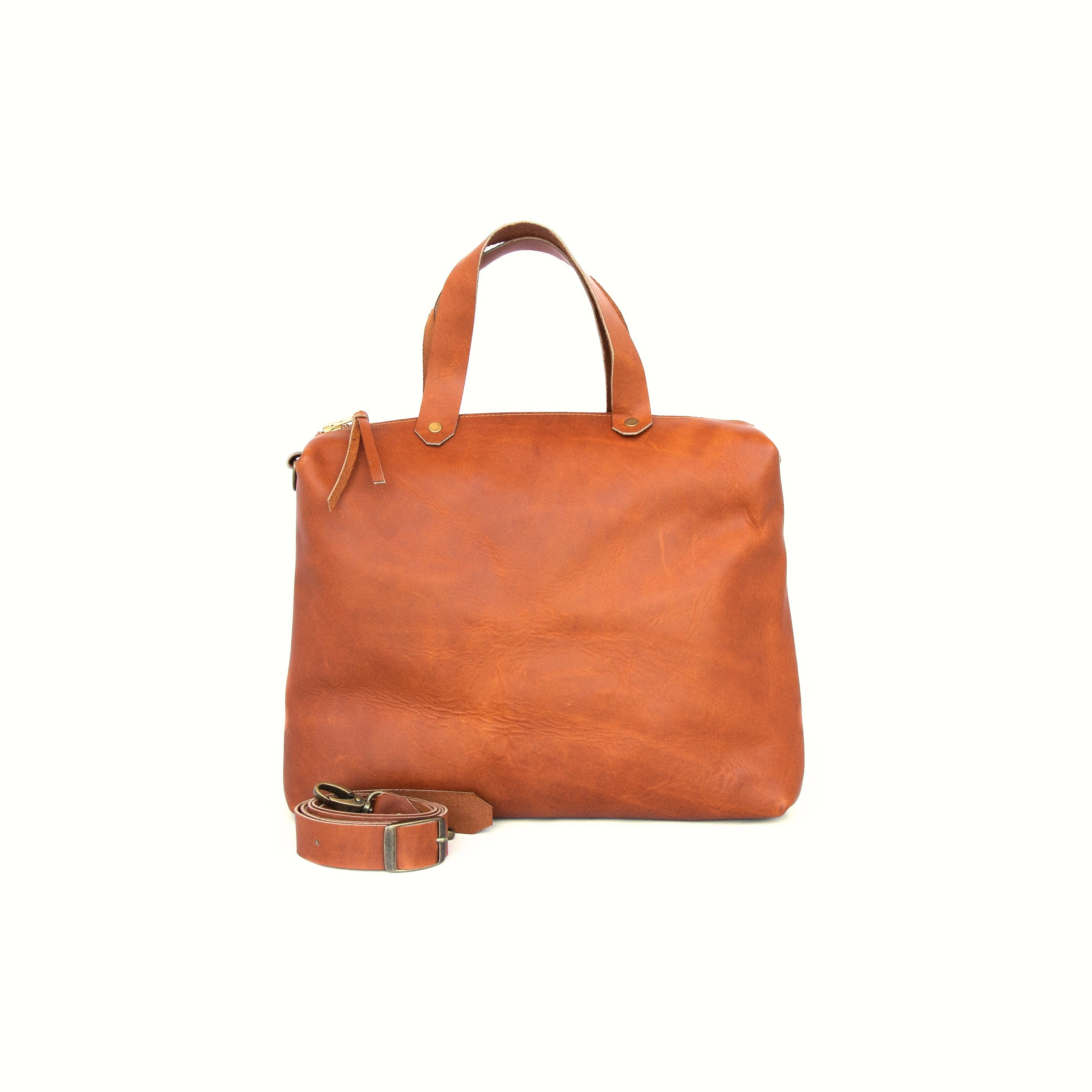 Spy Bag In Ochre Leather - handcrafted by Market Canvas Leather in Tofino, BC, Canada