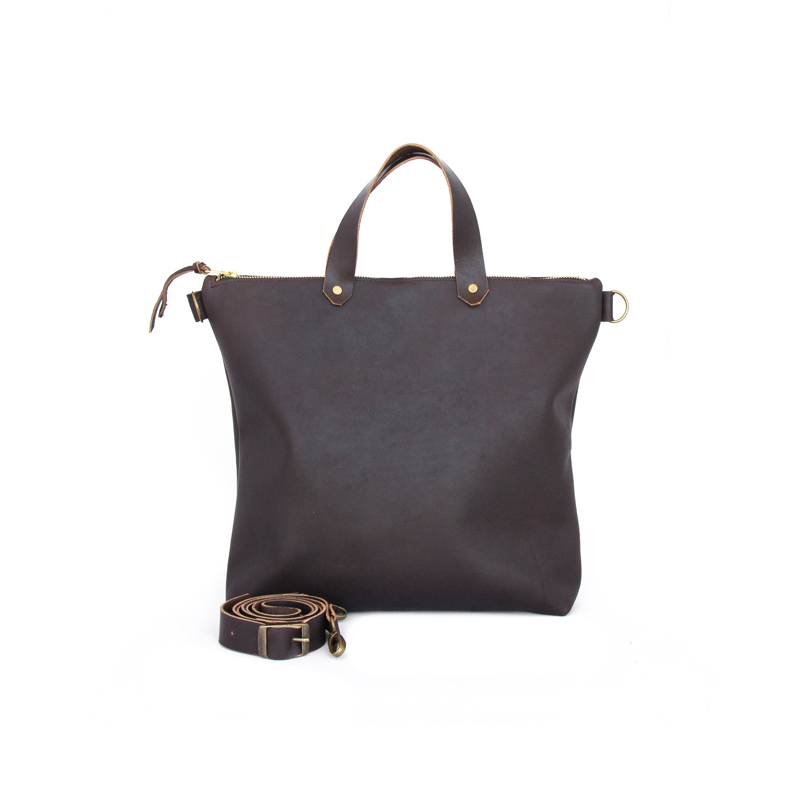 Zip Tote In Dark Brown Leather - handcrafted by Market Canvas Leather in Tofino, BC, Canada