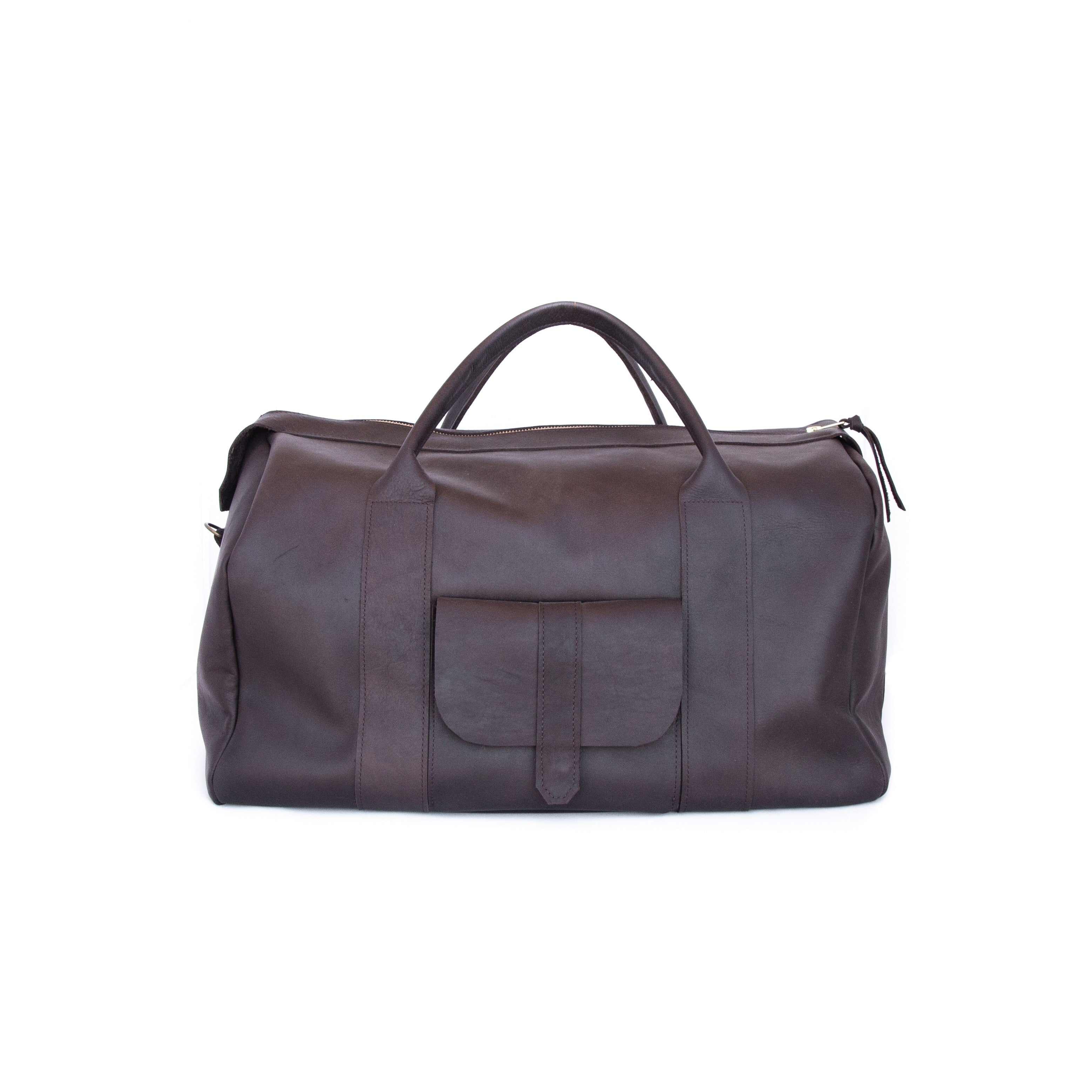 The Weekender in Dark Brown Leather - handcrafted by Market Canvas Leather in Tofino, BC, Canada