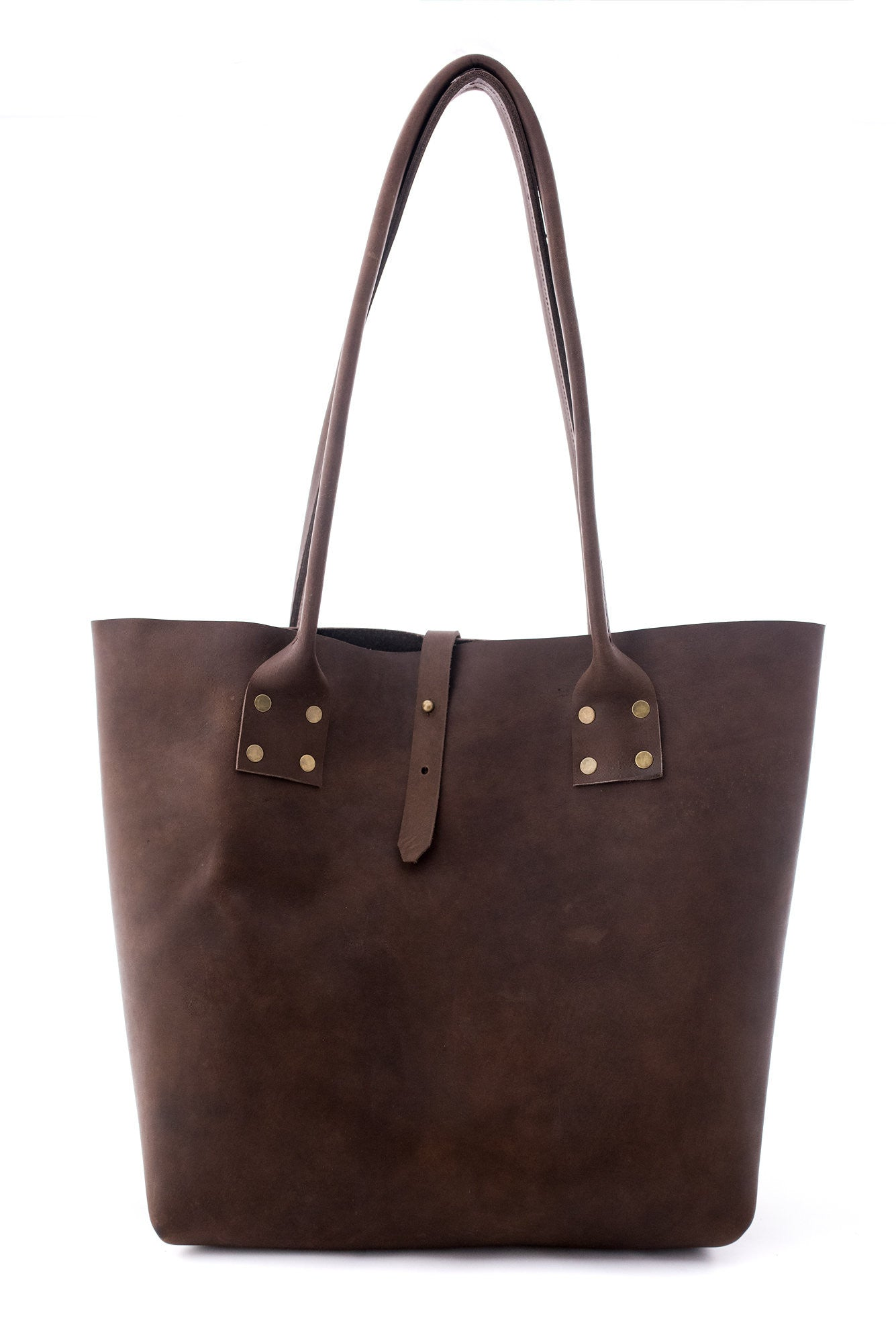 Refined Tote in Brown Leather - handcrafted by Market Canvas Leather in Tofino, BC, Canada