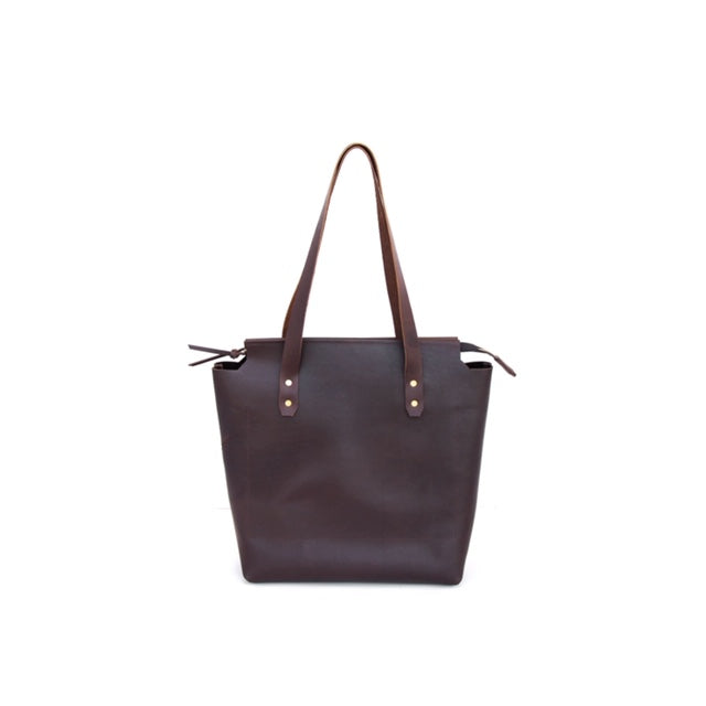 Cut Out Zip Tote Leather - handcrafted by Market Canvas Leather in Tofino, BC, Canada