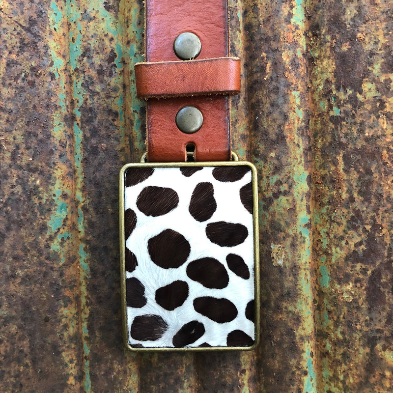 Spotted Cowhide Belt Buckle