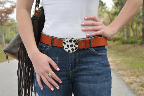 Spotted Cowhide Belt Buckle - Rectangle