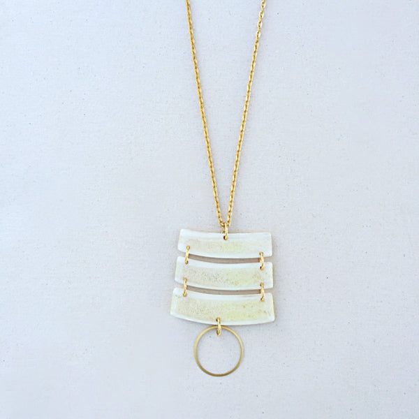 Muley Slice Necklace with Gold Circle