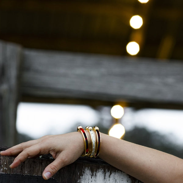 Cowhide Bangle - Gold