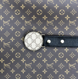 Upcycled Gucci Buckle with Black cowhide belt