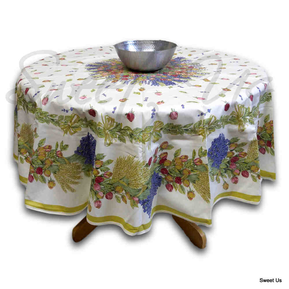 Wipeable Tablecloth French Provencal Acrylic Coated Cotton Rose Lavender White - Sweet Us