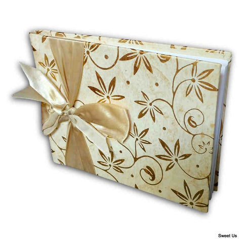 Handcrafted Recycled Paper Floral Book, Journal, Wedding Book, Photo Album Beige