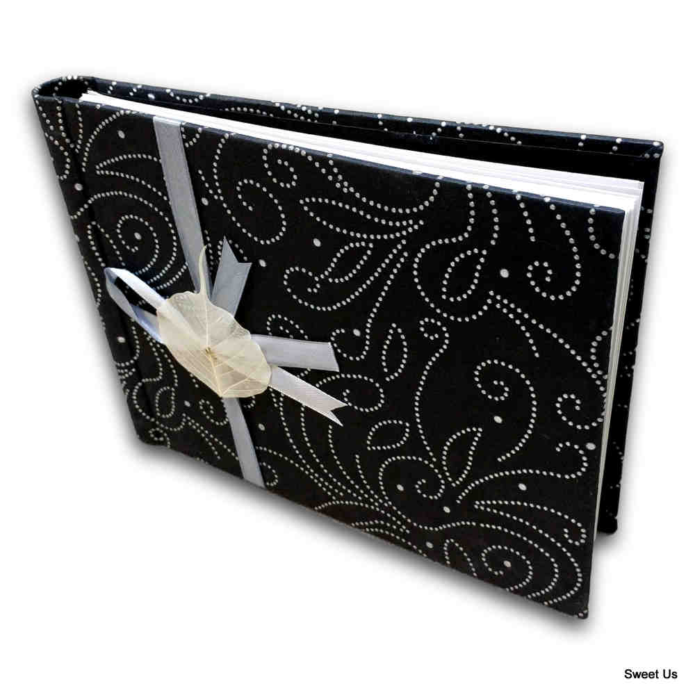 Handcrafted Recycled Paper Floral Book, Journal, Wedding Book, Photo Album Black