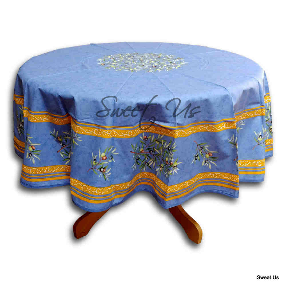 Wipeable Tablecloth Round Spillproof French Acrylic Coated Clos De Oliviers